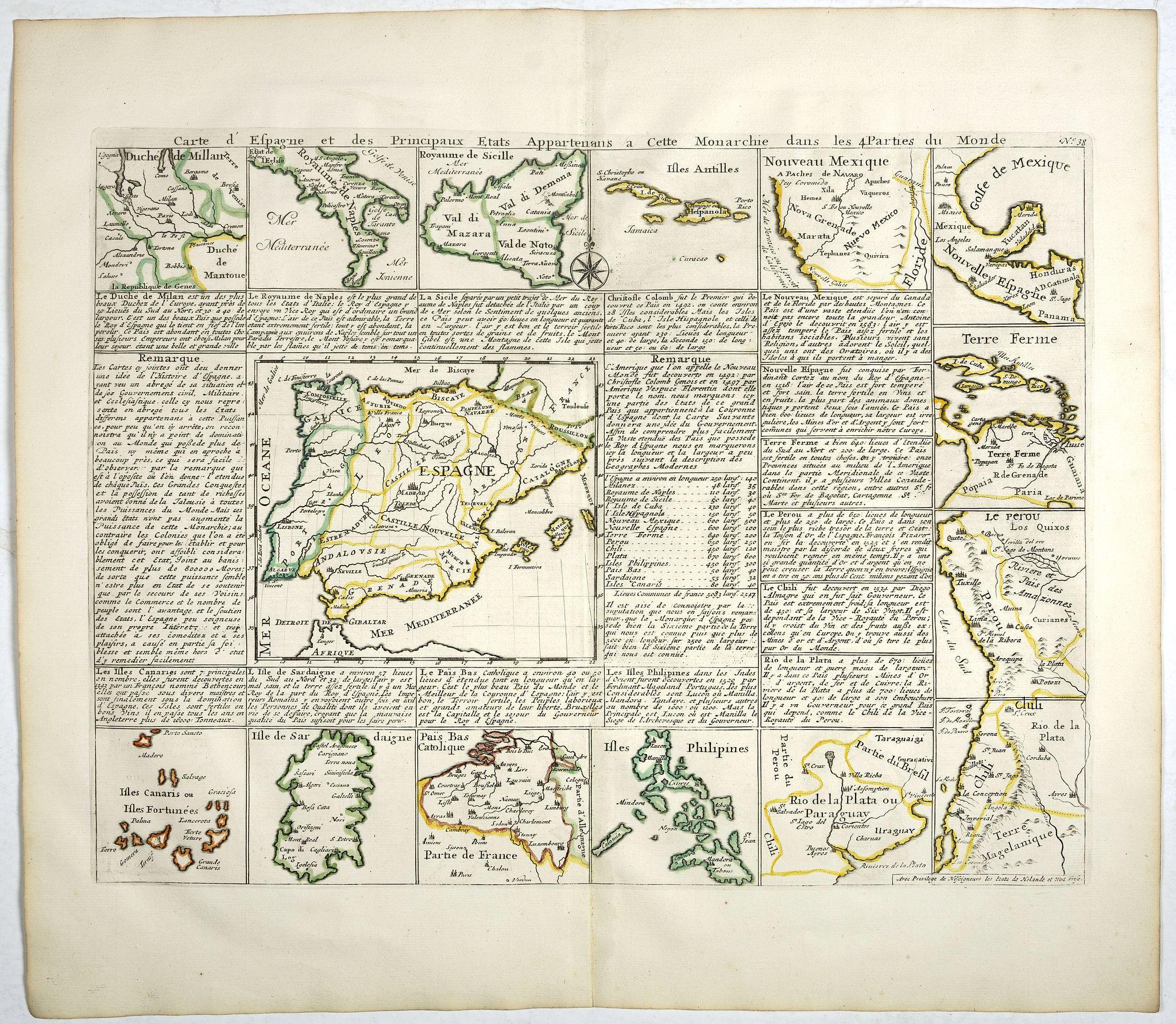 CHATELAIN, H. -  Carte d'Espagne et des Principaux Etats. . .