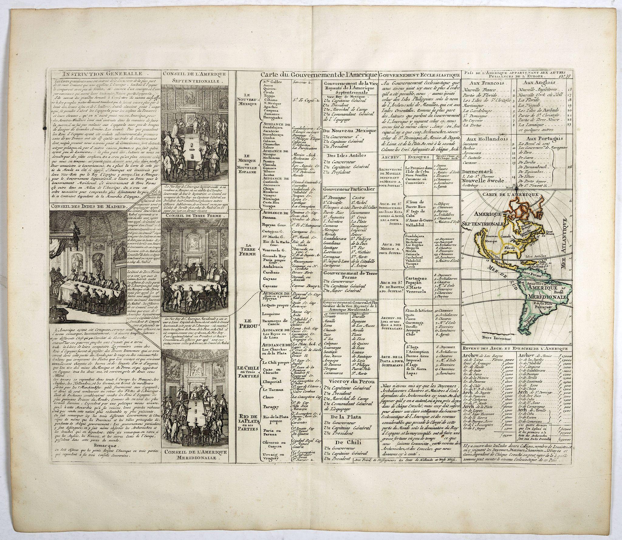 CHATELAIN, H. -  Carte du gouvernement de l'Amerique.