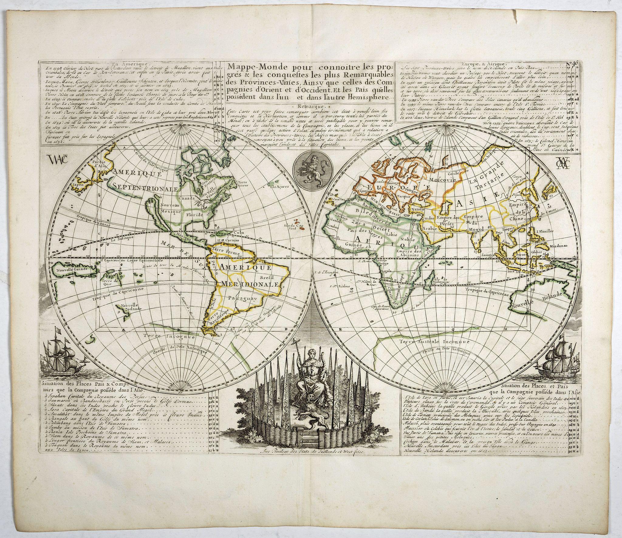 CHATELAIN, H. -  Mappe-Monde pour connoitre les progres & les conquestes..
