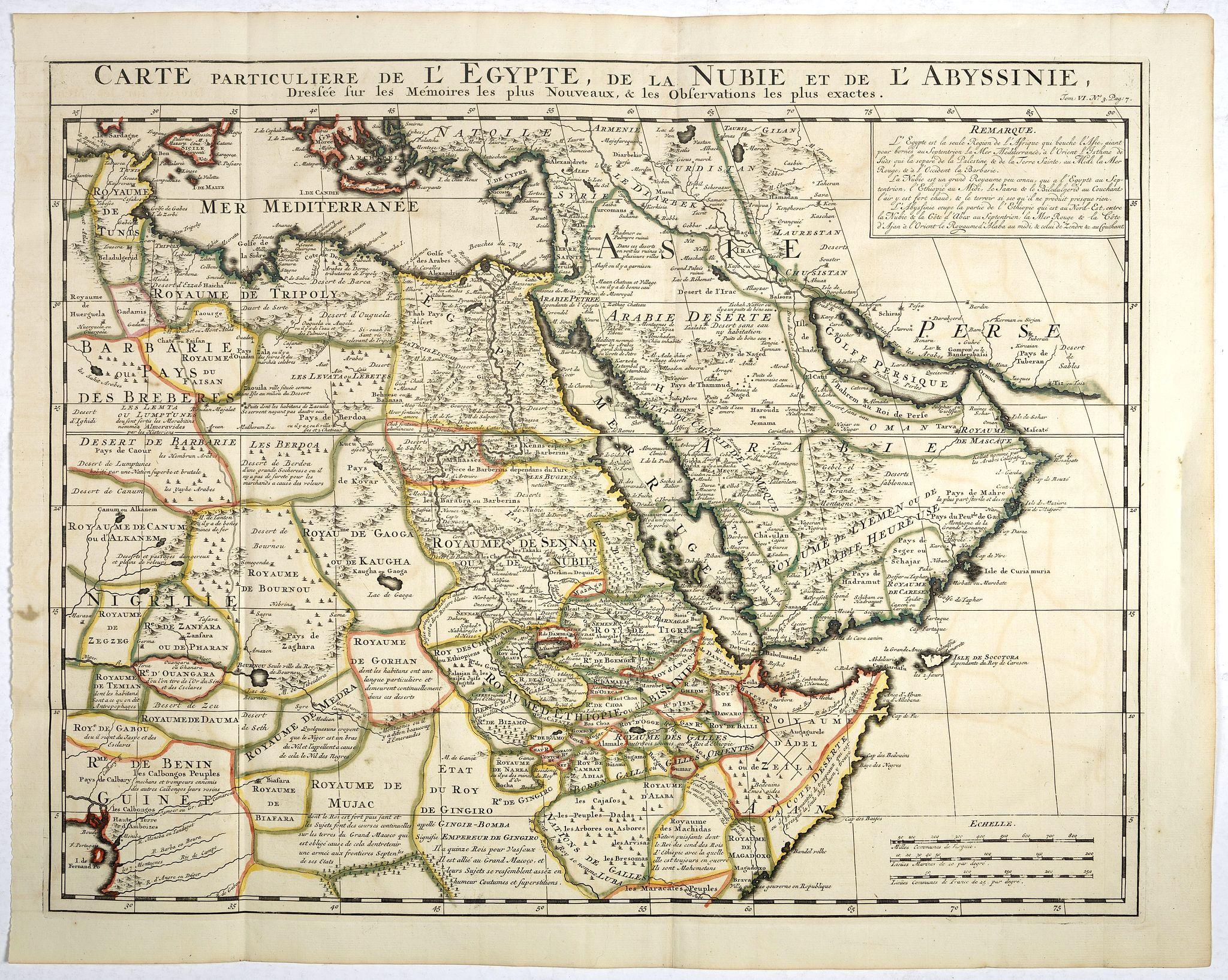 CHATELAIN, H. -  Carte Particuliere De L'Egypte, De La Nubie et de L'Abyssinie, Dressee sur les Memoires les plus Nouveaux & les Observation les plus exactes.