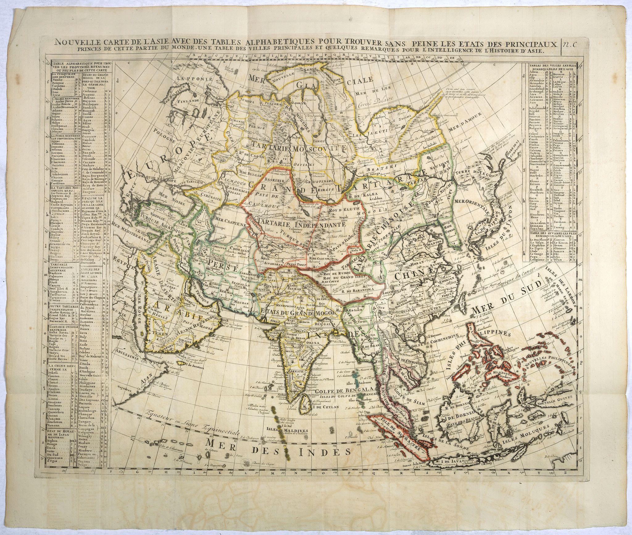 CHATELAIN,H. -  Nouvelle Carte De L'Asie Avec Des Tables Alphabetiques Pour Trouver Sans Peine Les Etats Des Principaux Princes De Cette Partie Du Monde . . .
