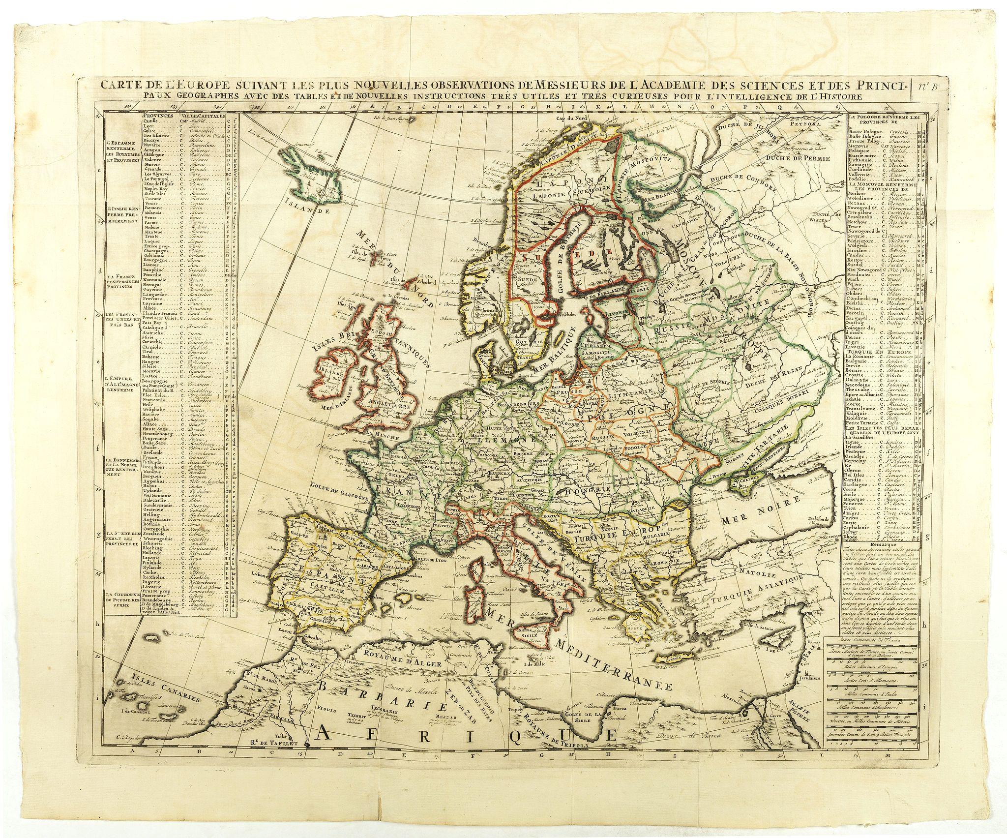 CHATELAIN,H. -  Carte De L'Europe Suivant Les Plus Nouvelles Observations De Messieurs De L'Academie Des Sciences . . .