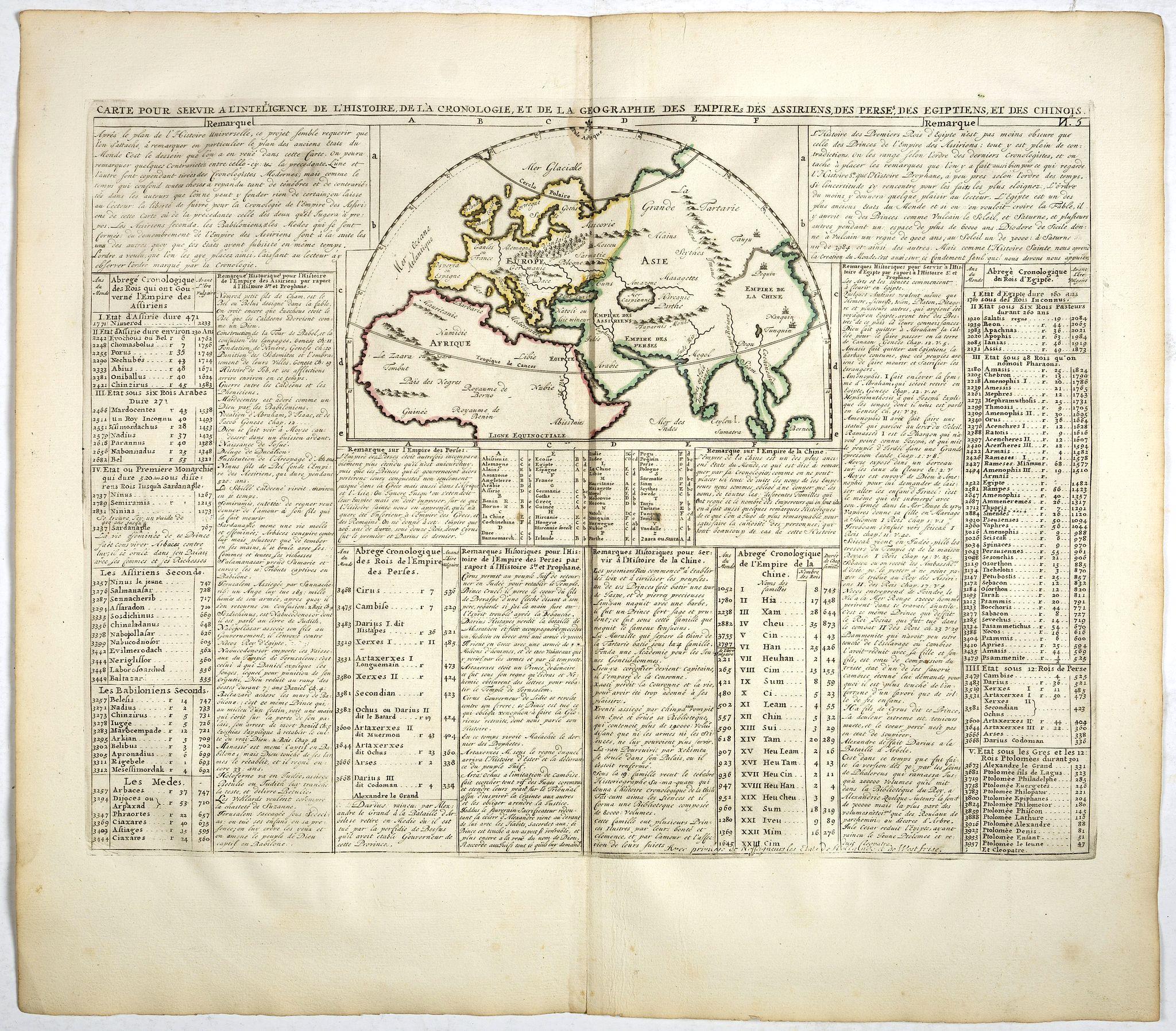 CHATELAIN, H. -  Carte pour servir à l'intelligence de l'histoire de la chronologie et de la géographie des empires des Assiriens, des Perses, des Egyptiens et des Chinois.