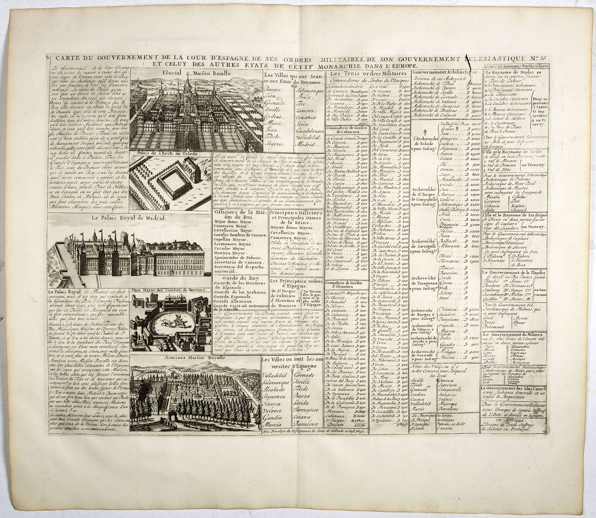 CHATELAIN, H. -  Carte du Gouvernement de la Cour d'Espagne. . .