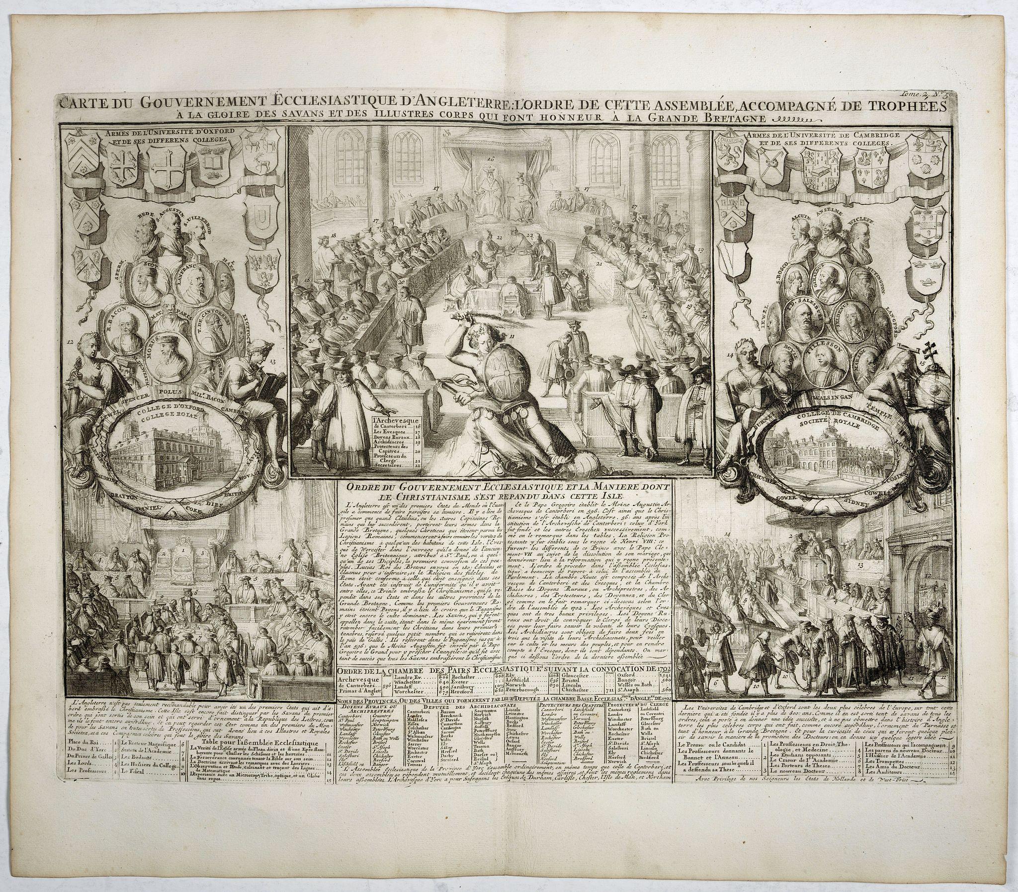 CHATELAIN, H. -  Carte du gouvernement ecclesiastique d'Angleterre . . .