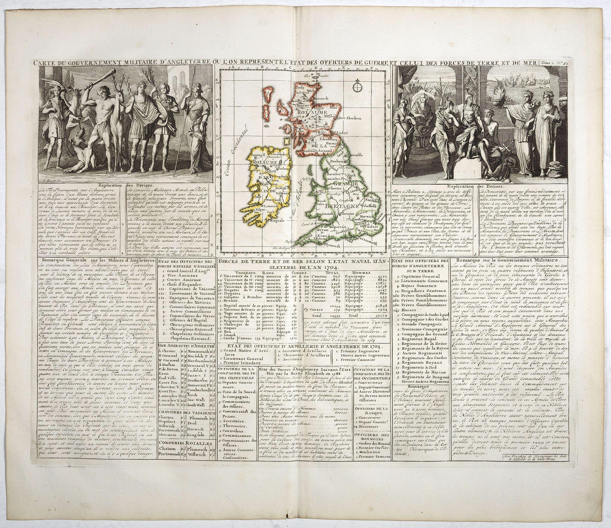 CHATELAIN, H. -  Carte du gouvernement d'Angleterre où l'on représente l'Etat des officiers de Guerre. . .