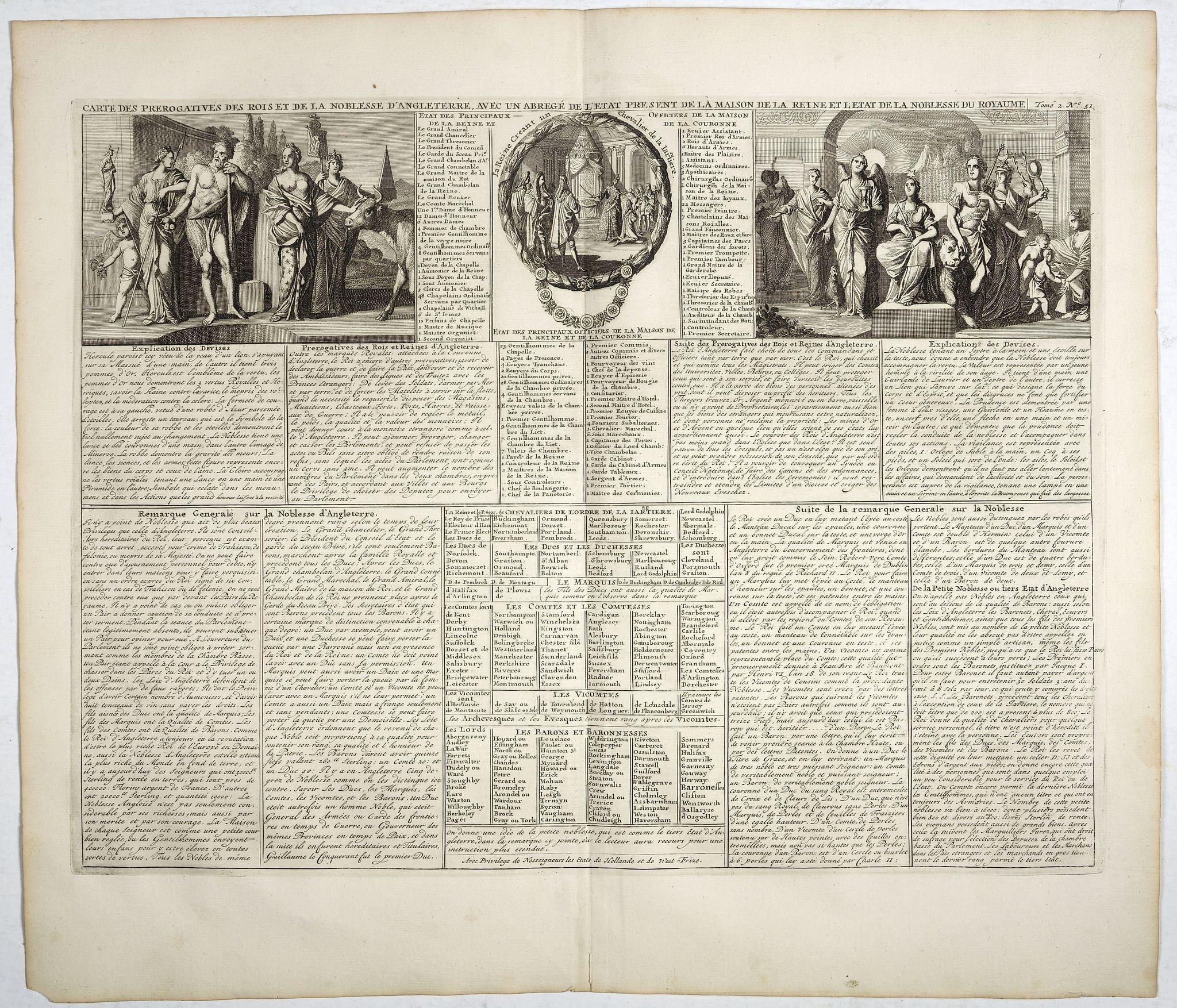 CHATELAIN, H. -  Carte des prérogatives des rois et de la noblesse d'Angleterre . . .