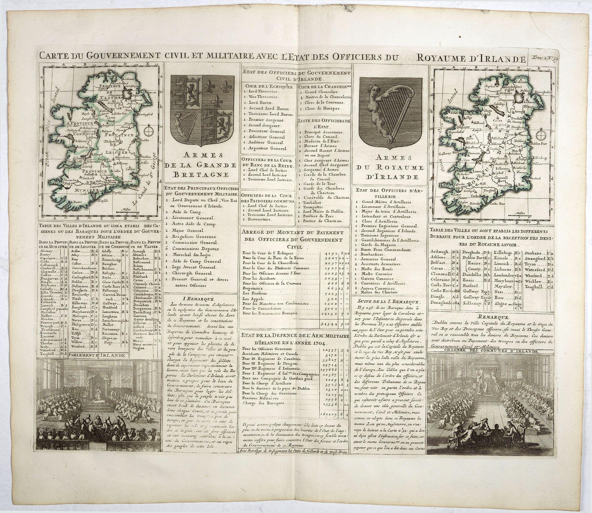 CHATELAIN, H. -  Carte du gouvernement civil et militaire avec l'Etat des Officiers du Royaume d'Irlande . . .