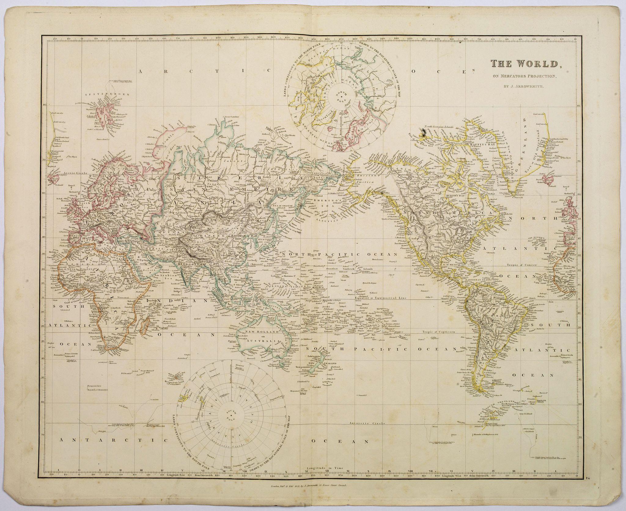ARROWSMITH, John -  The World on Mercator's Projection.