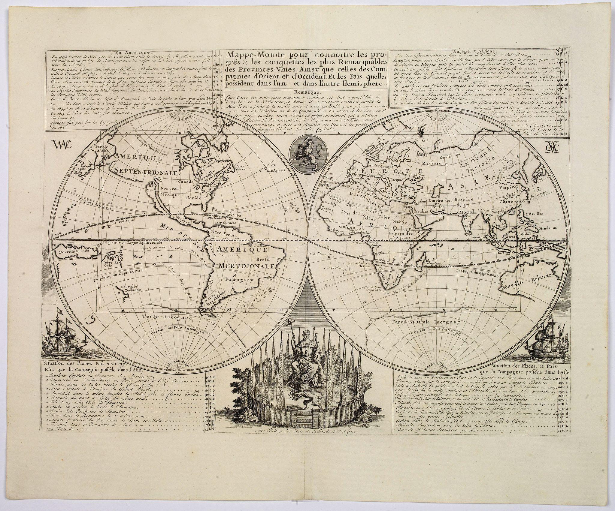 CHATELAIN, H. - Mappe-Monde pour connoitre les progres & les conquestes…