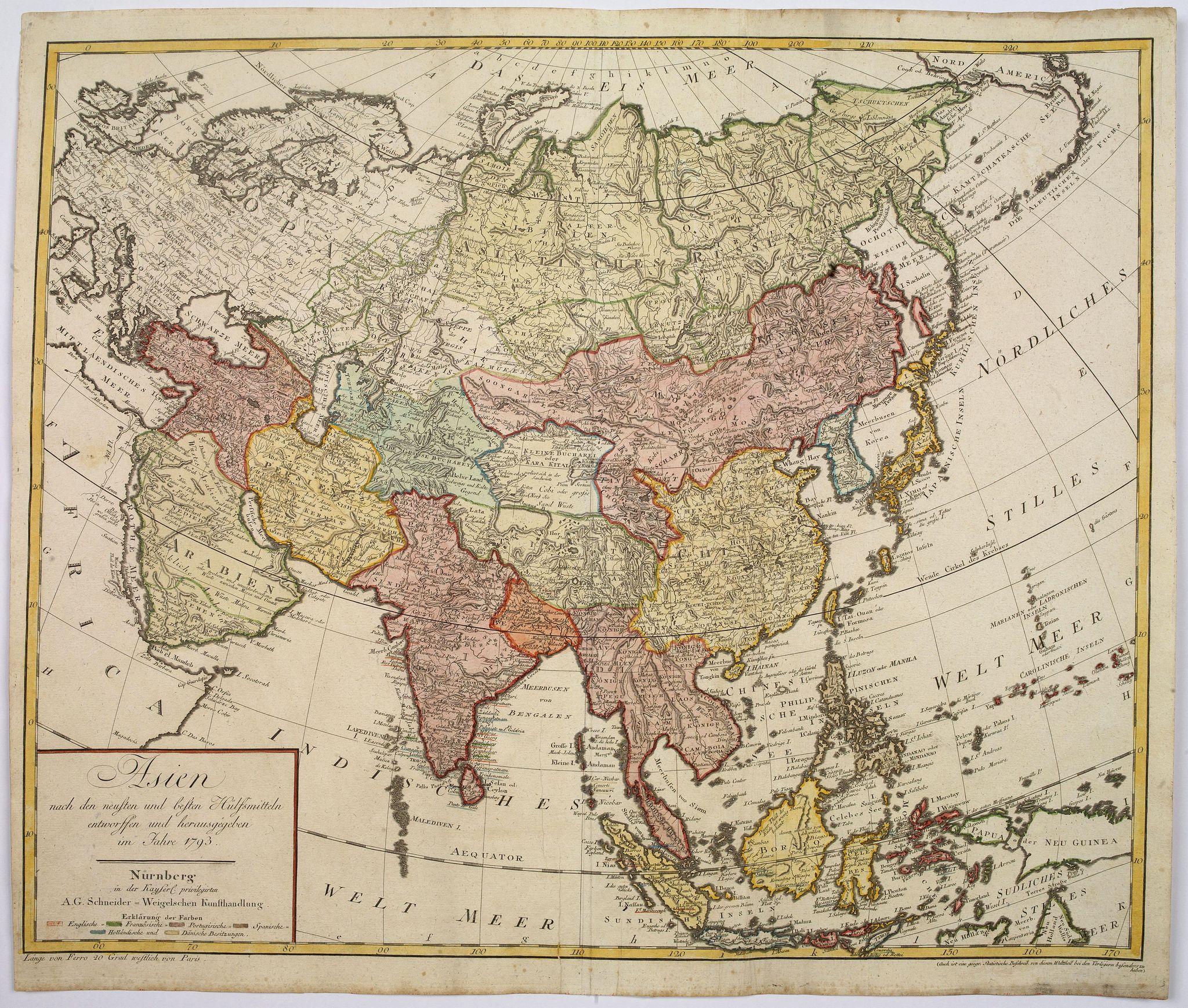 SCHNEIDER, A.G. - Asien nach den neusten und besten Hülfsmitteln entworffen und herausgegeben im Jahre 1793