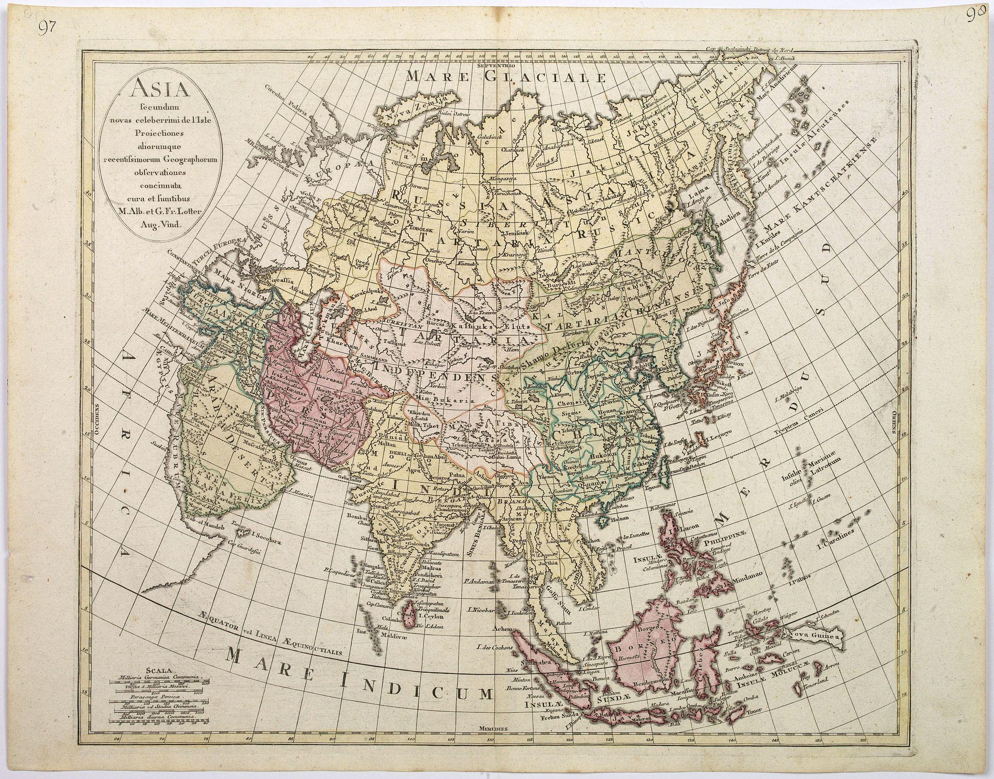LOTTER, Matthaus Albrecht [and] Georg Friedrich. - Asia secundum novas celeberrimi de l'Isle Projectiones aliorumque. . .