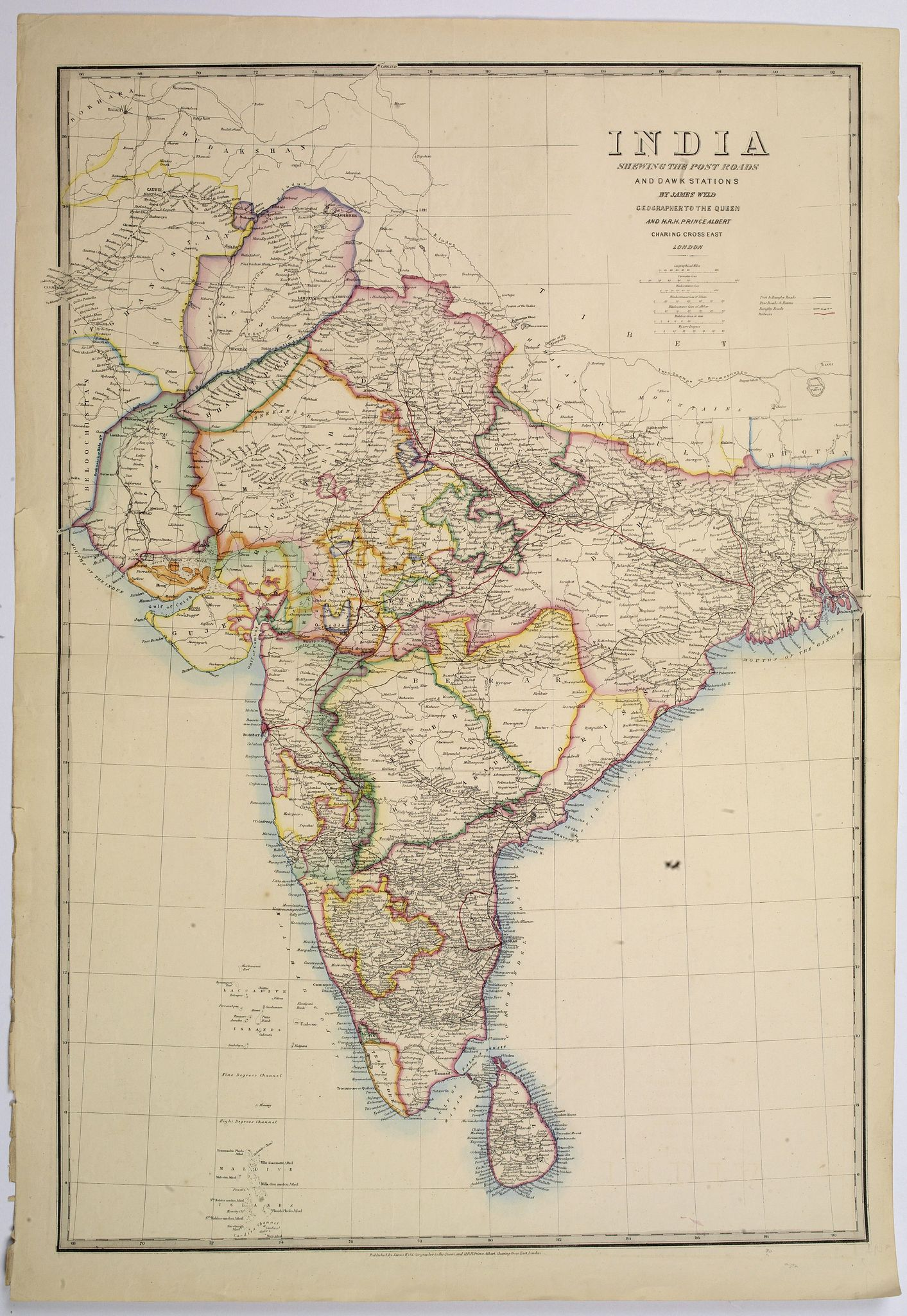WYLD, J. - India shewing the post roads and dawk stations by James Wyld, geographer to the Queen and H.R.H. Prince Albert.