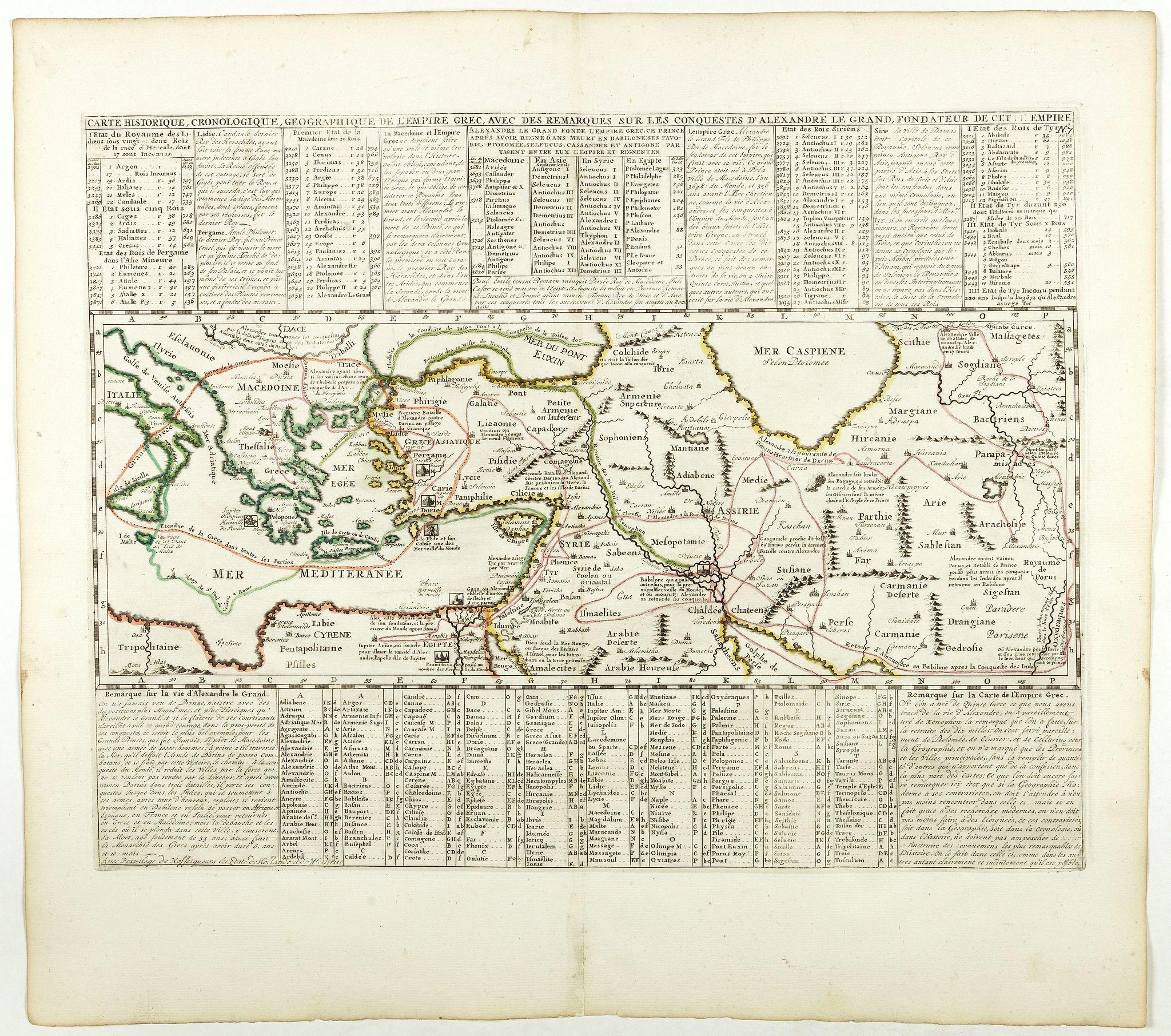 CHATELAIN, H. -  Carte historique chronologique et géographique de l'empire Grec . . .