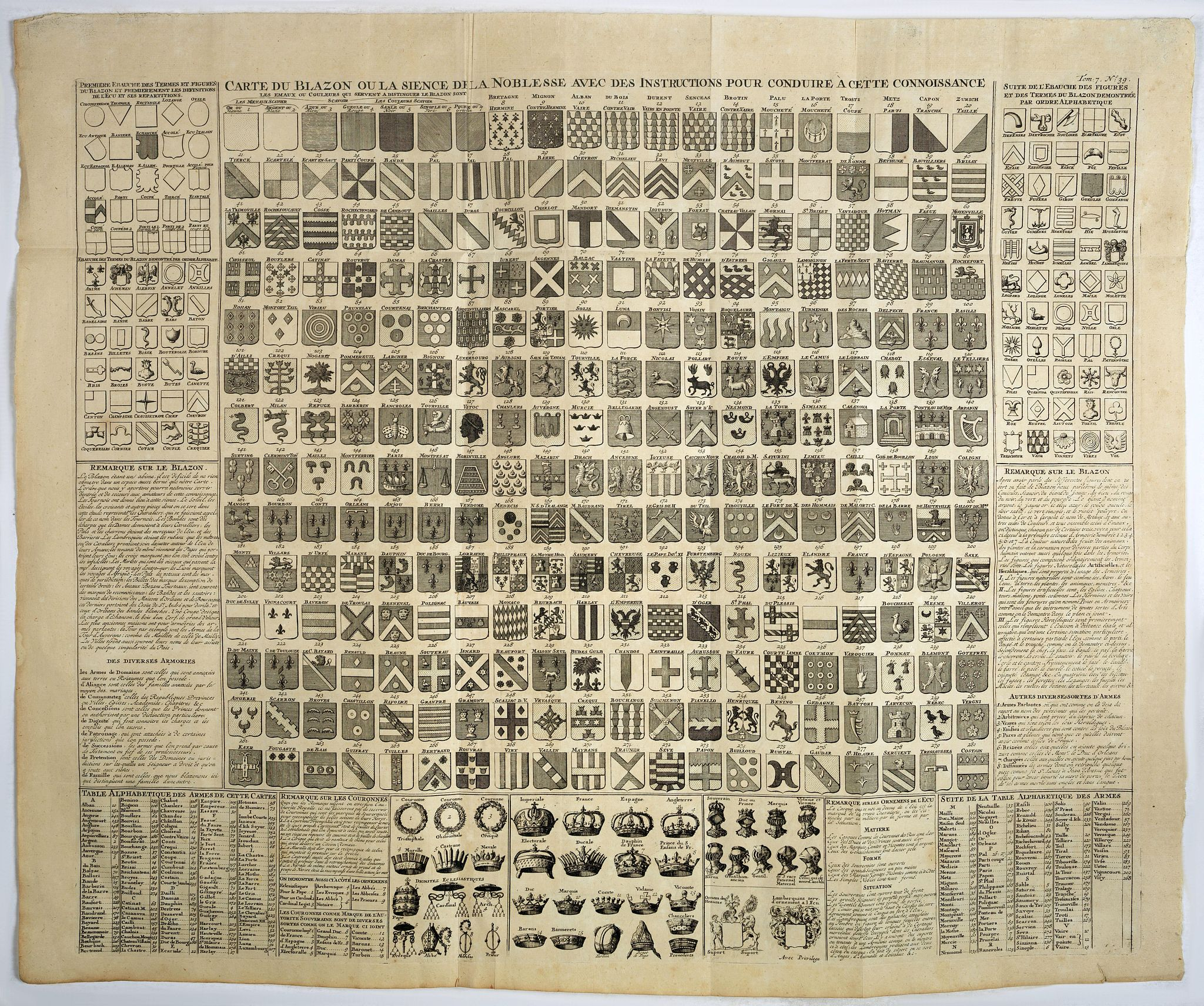 CHATELAIN, H. -  Carte du blazon ou la science de la noblesse avec des instructions pour conduire a cette connaissance.