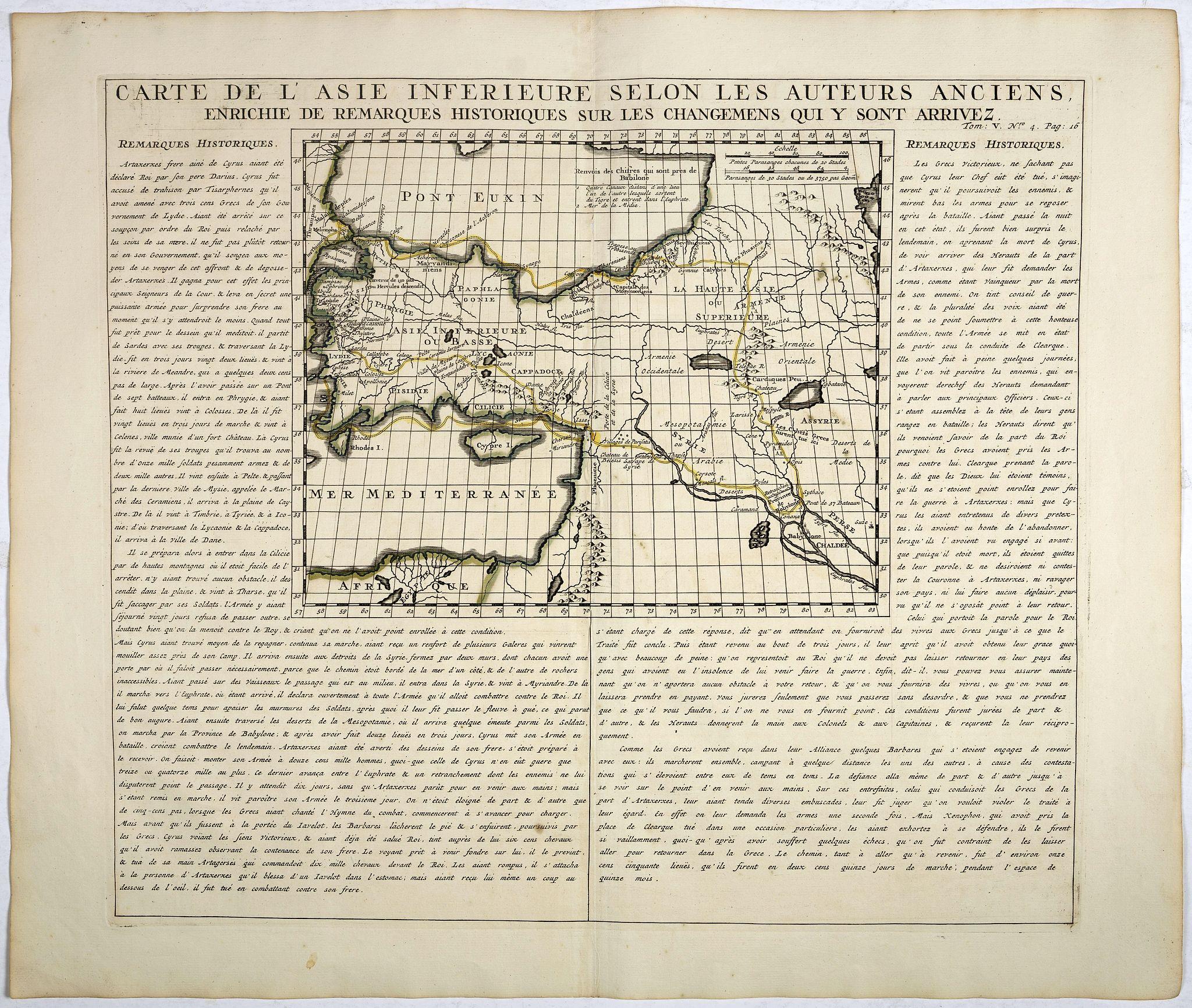 CHATELAIN, H. -  Carte De L'Asie Inferieure Selon Les Auteurs Anciens, Enrichie de Remarques Historiques sur les Changemens qui y sont arrivez.
