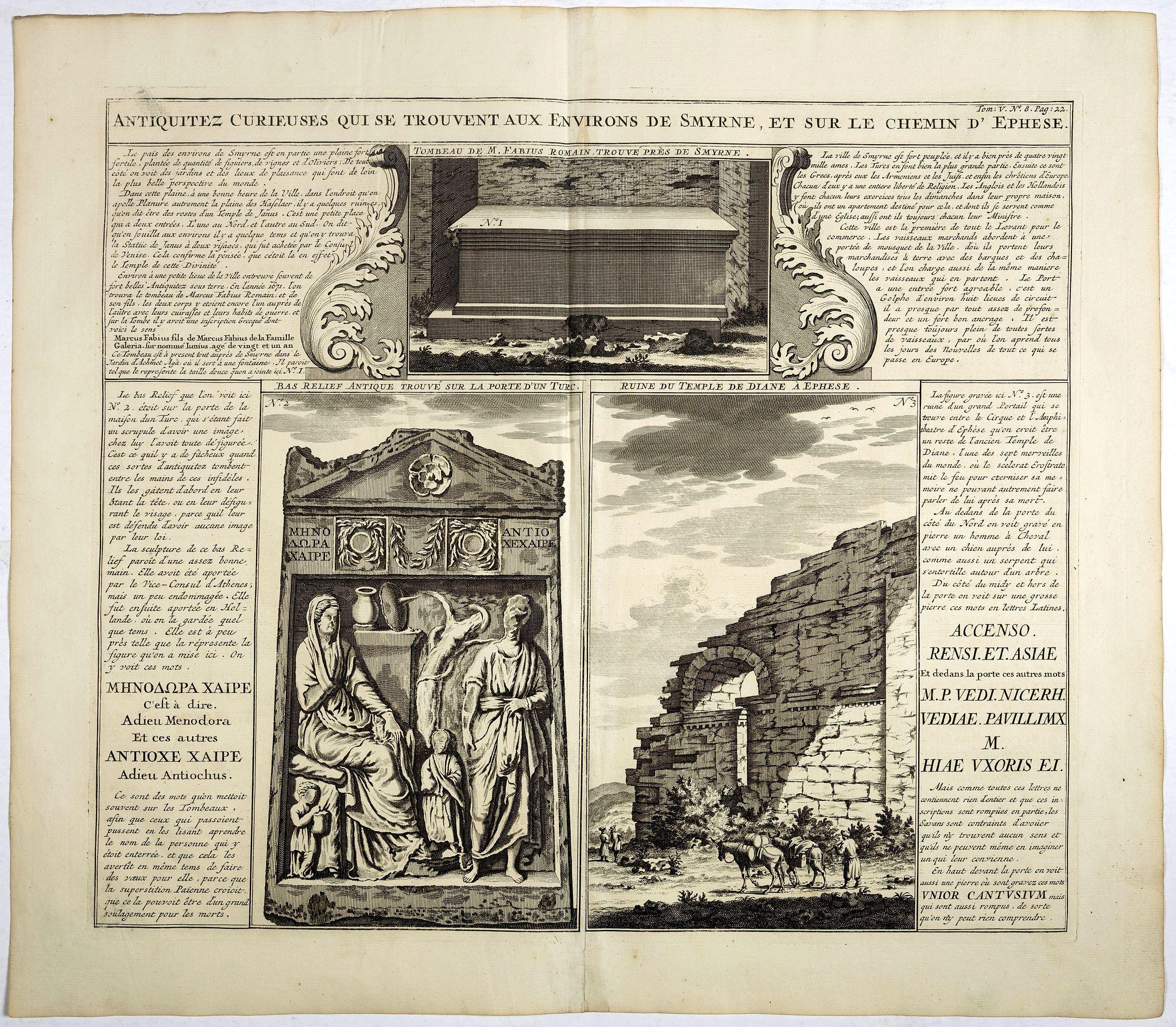 CHATELAIN, H. -  Antiquez curieuses qui se trouvent aux environs de Smyrne, et sur le chemin d'Ephese.