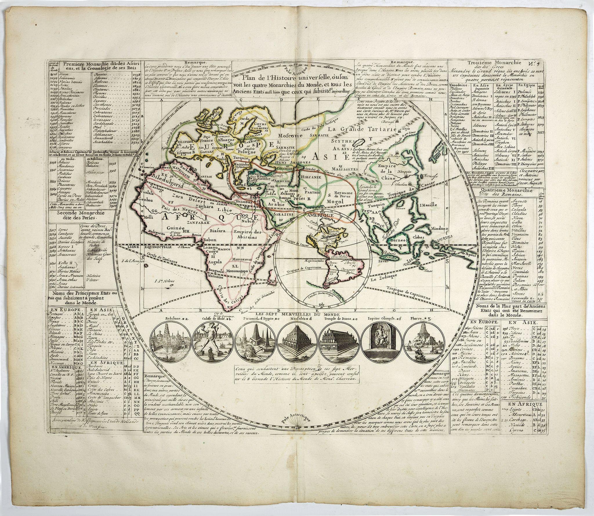 CHATELAIN, H. -  Plan de l'Histoire Universelle où l'on voit les quatre monarchies du Monde . . ..