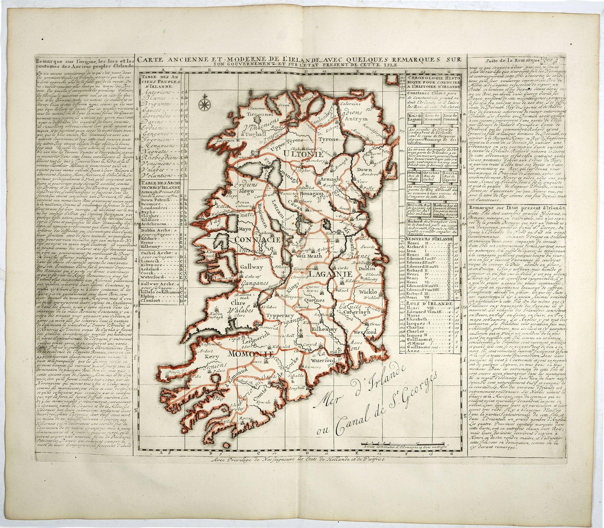 CHATELAIN, H. -  Carte ancienne et moderne de l'Irlande, avec quelques remarques sur son gouvernement . . .