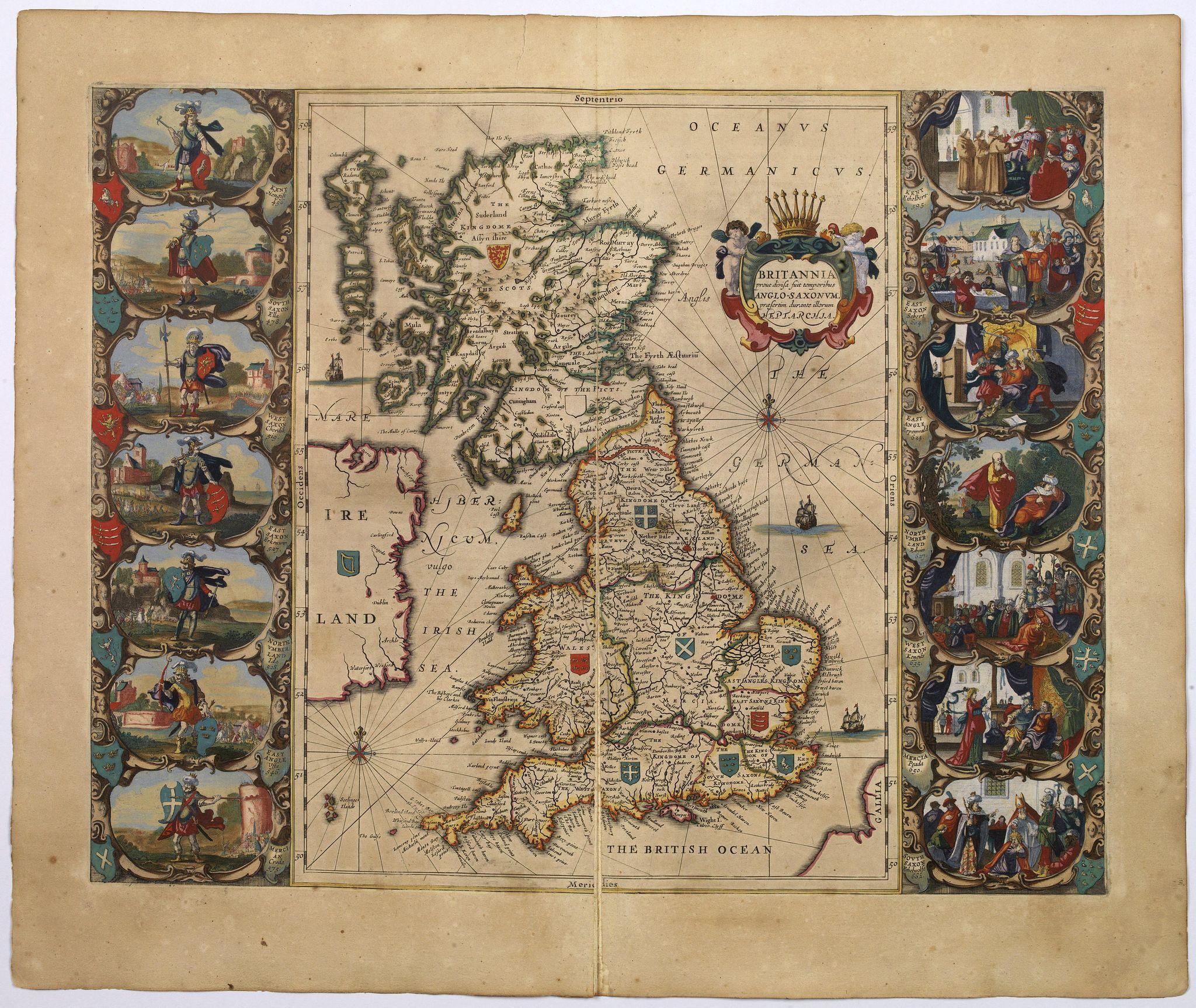 JANSSONIUS, J. - Britannia prout divisa suit temporibus Anglo-Saxonum, praesertim durante illorum Heptarchia.