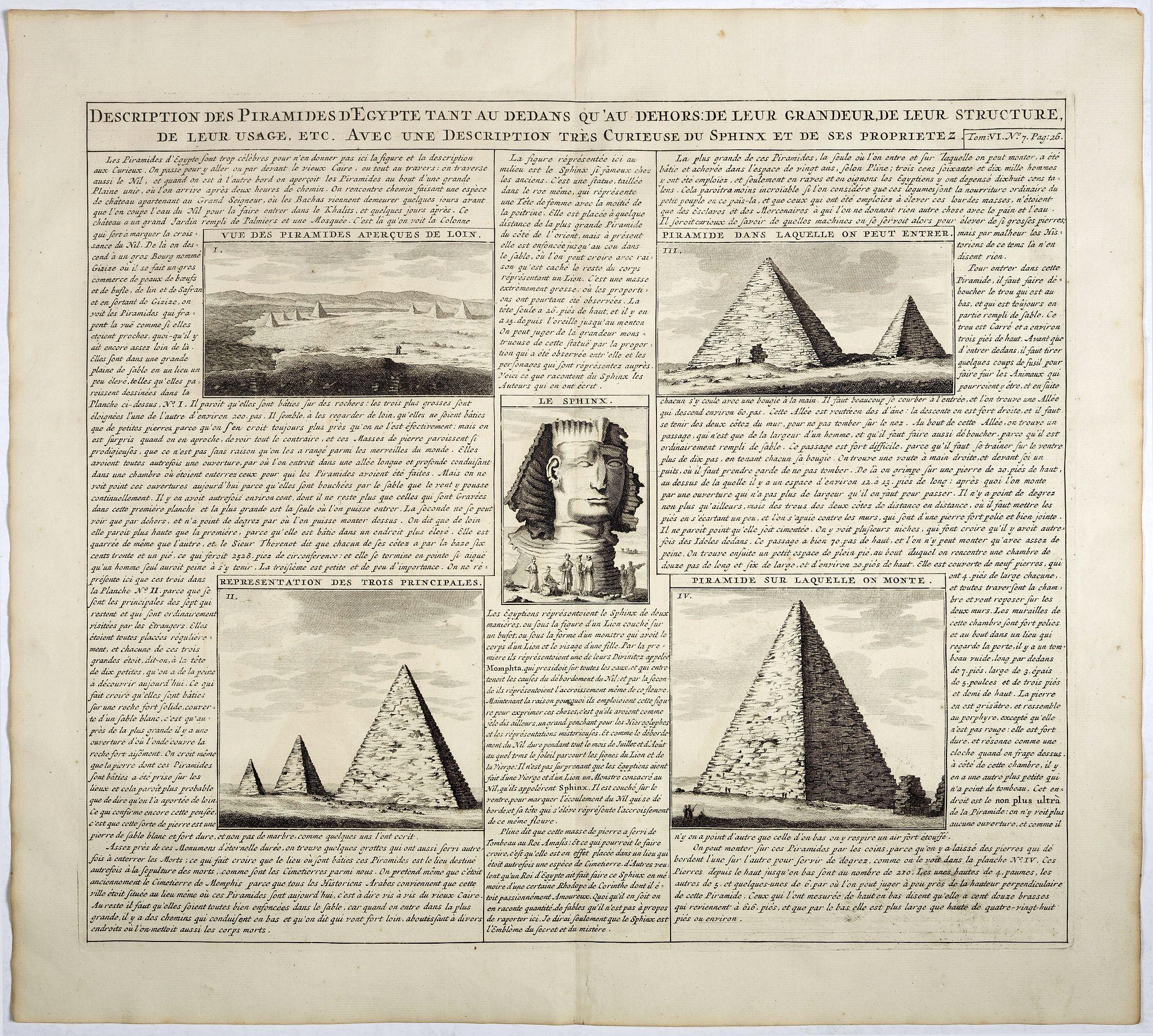 CHATELAIN, H. -  Description des piramides d'Egypte tant au départ qu'au dehors . . .