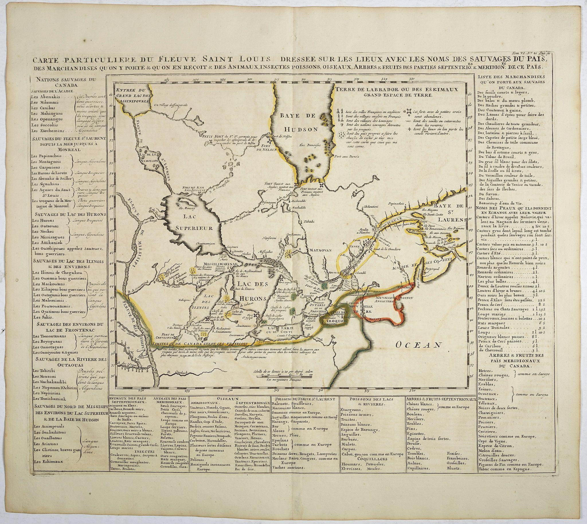 CHATELAIN, H. -  Carte particuliere du fleuve Saint Louis dressee sur les lieux avec les noms des sauvages du pais . . .