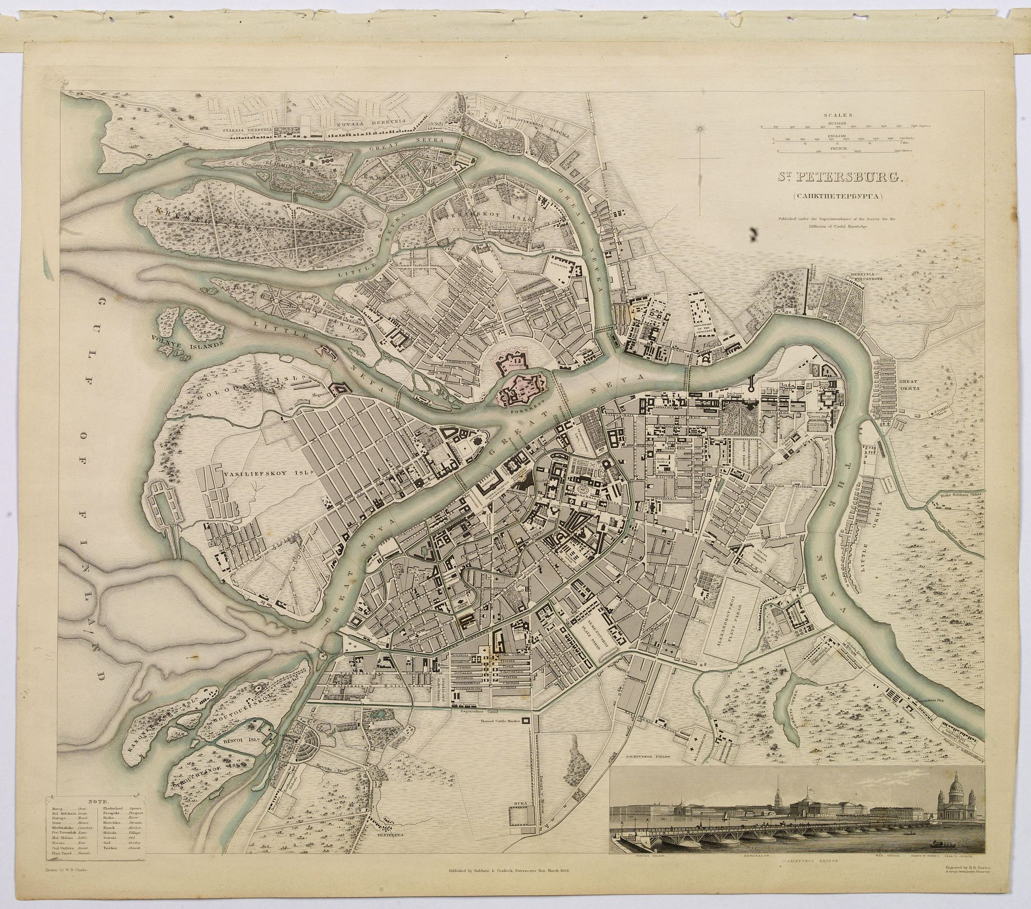 SOCIETY FOR THE DIFFUSION OF USEFUL KNOWLEDGE., St. Petersburg., antique map, old maps