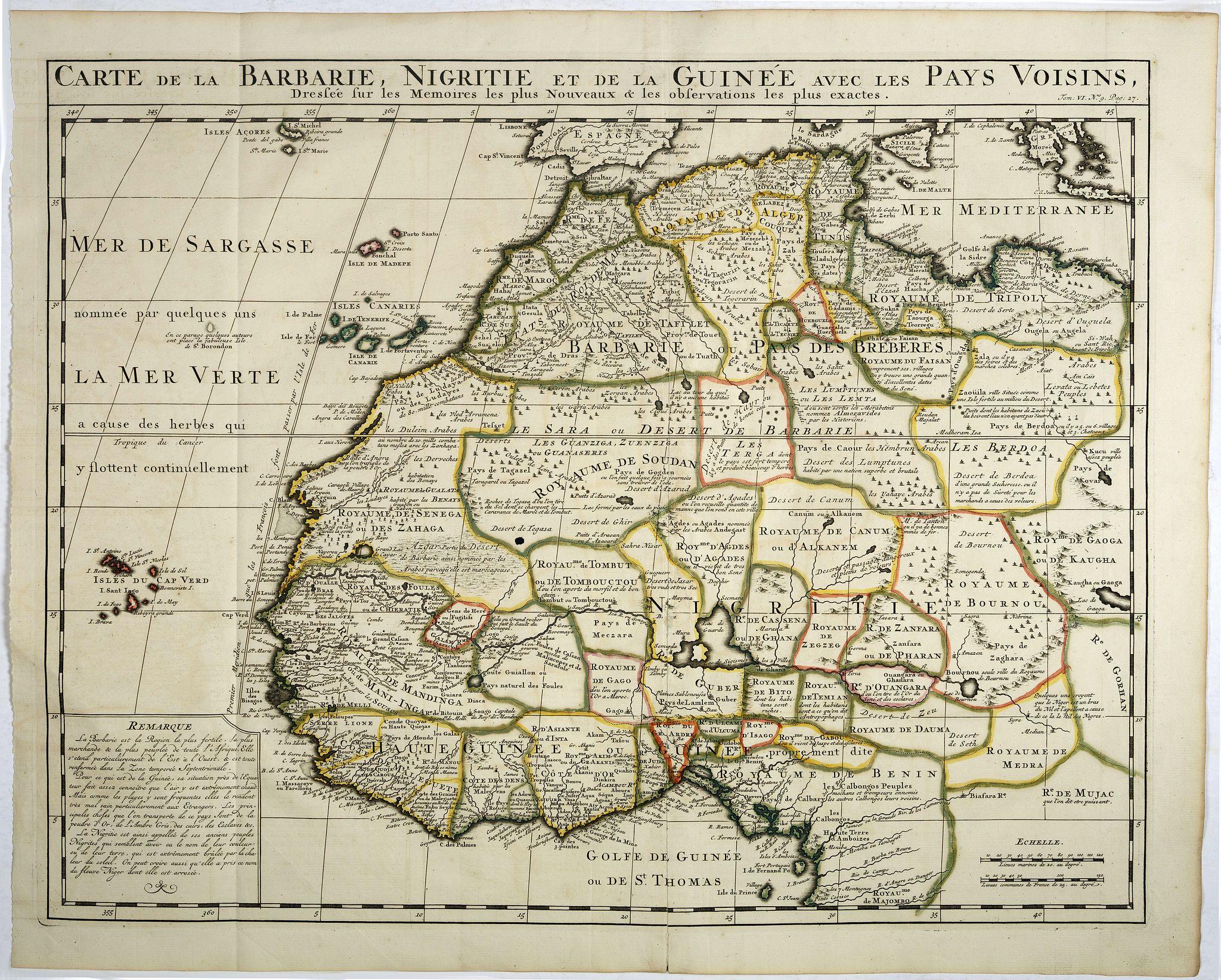CHATELAIN, H. -  Carte de la barbarie, Nigritie et de la Guinée avec les pays voisins . . .