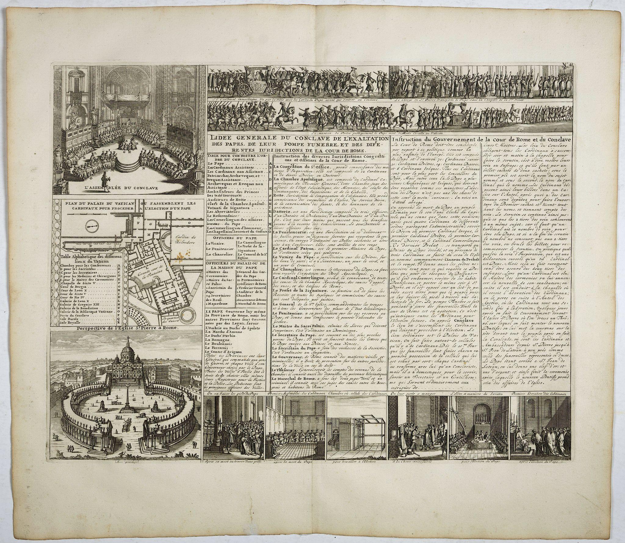 CHATELAIN, H. -  L'idée geneale du conclave de l'exaltation des papes, de leur pompe funebre et des differentes juridictions de la cour de Rome.