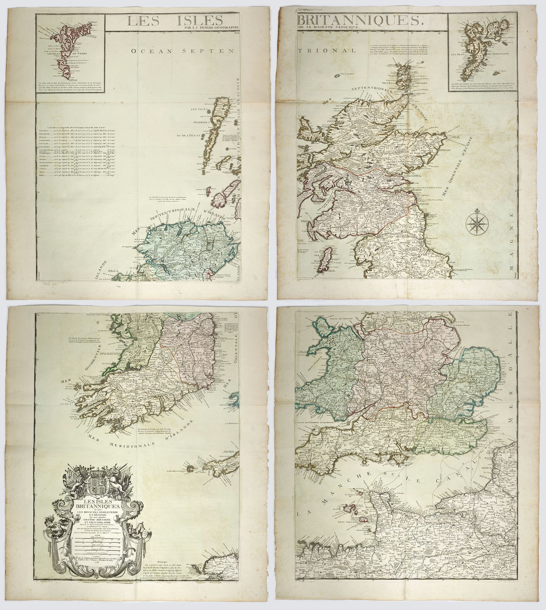 DESNOS, Louis Charles -  Les Isles Britanniques, où sont les Royaumes d'Angleterre et d'Ëcosse, que nous appellons Grande-Bretagne et celey d'Irlande.