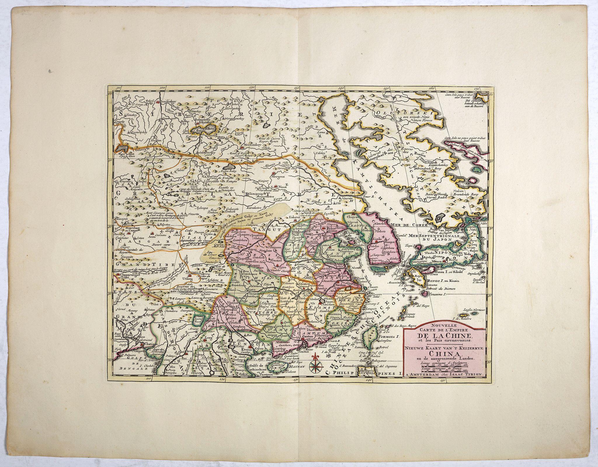 TIRION, I. -  Nouvelle Carte de L'Empire De La Chine et les Pais circonvoisins - Nieuwe Kaart van t Keizerryk China en de aangrensende Landen.