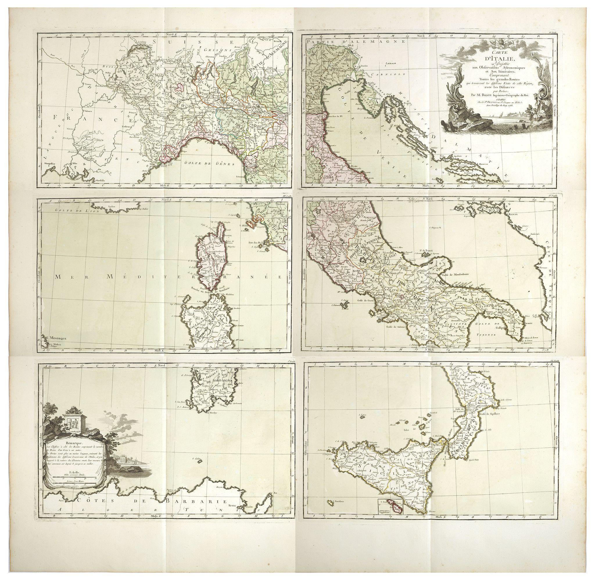DESNOS, Louis Charles -  Carte d'Italie, assujettie aux observations astronomiques et aux itinéraires. Comprenant toutes les grandes routes qui traversent les différens Etat de cette région . . .