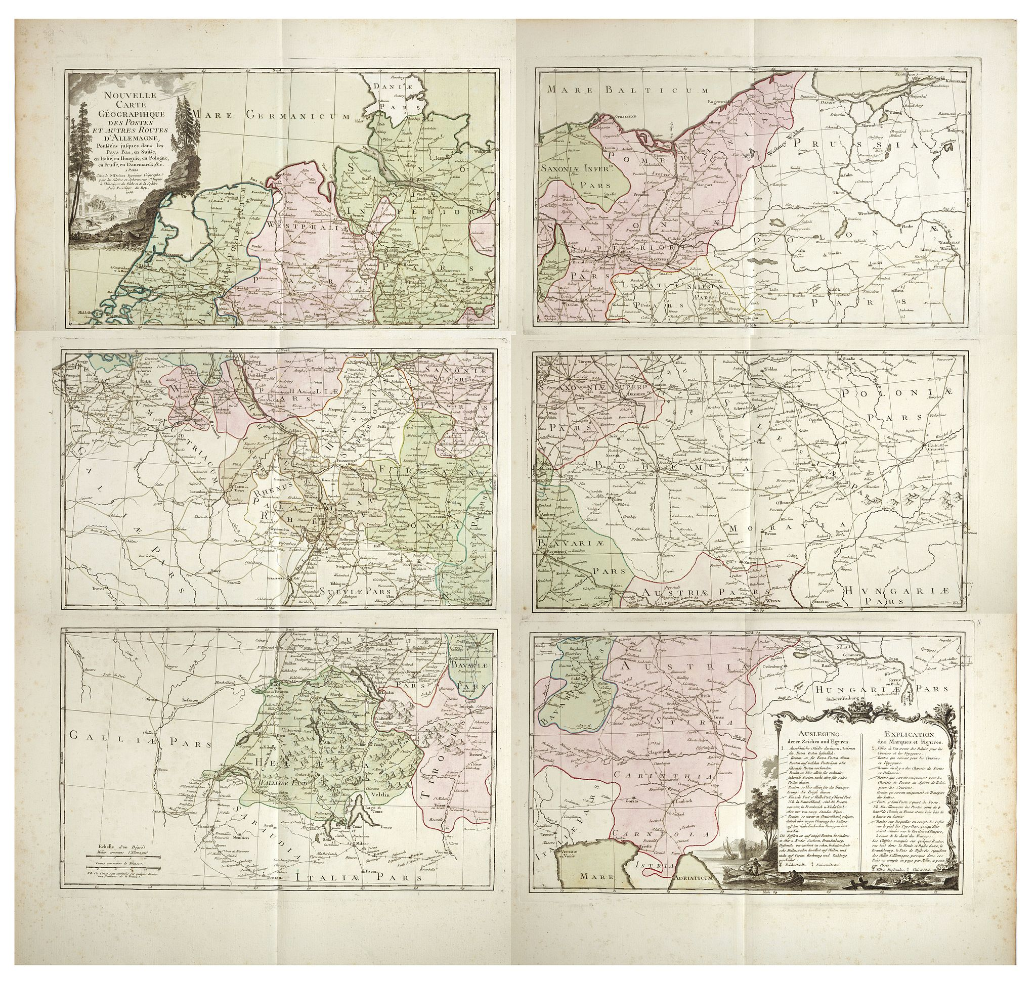 DESNOS, Louis Charles -  Nouvelle carte géographique des postes et autres routes d'Allemage,