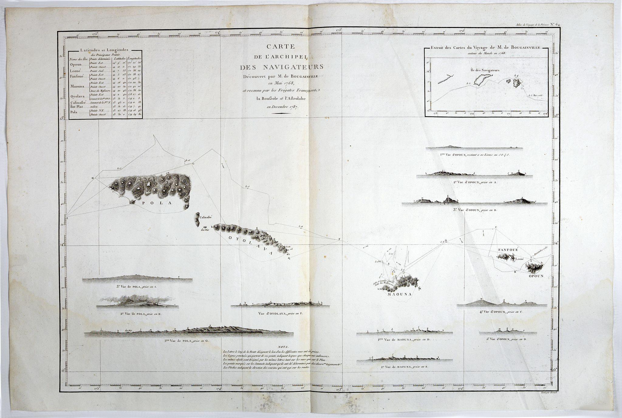 LA PEROUSE, Jean. - Carte de l'Archipel des Navigateurs, decouvert par M. de Bougainville en Mai 1768, et reconnu par les Fregates Francaises la Boussole et l'Astrolabe en Decembre 1787.