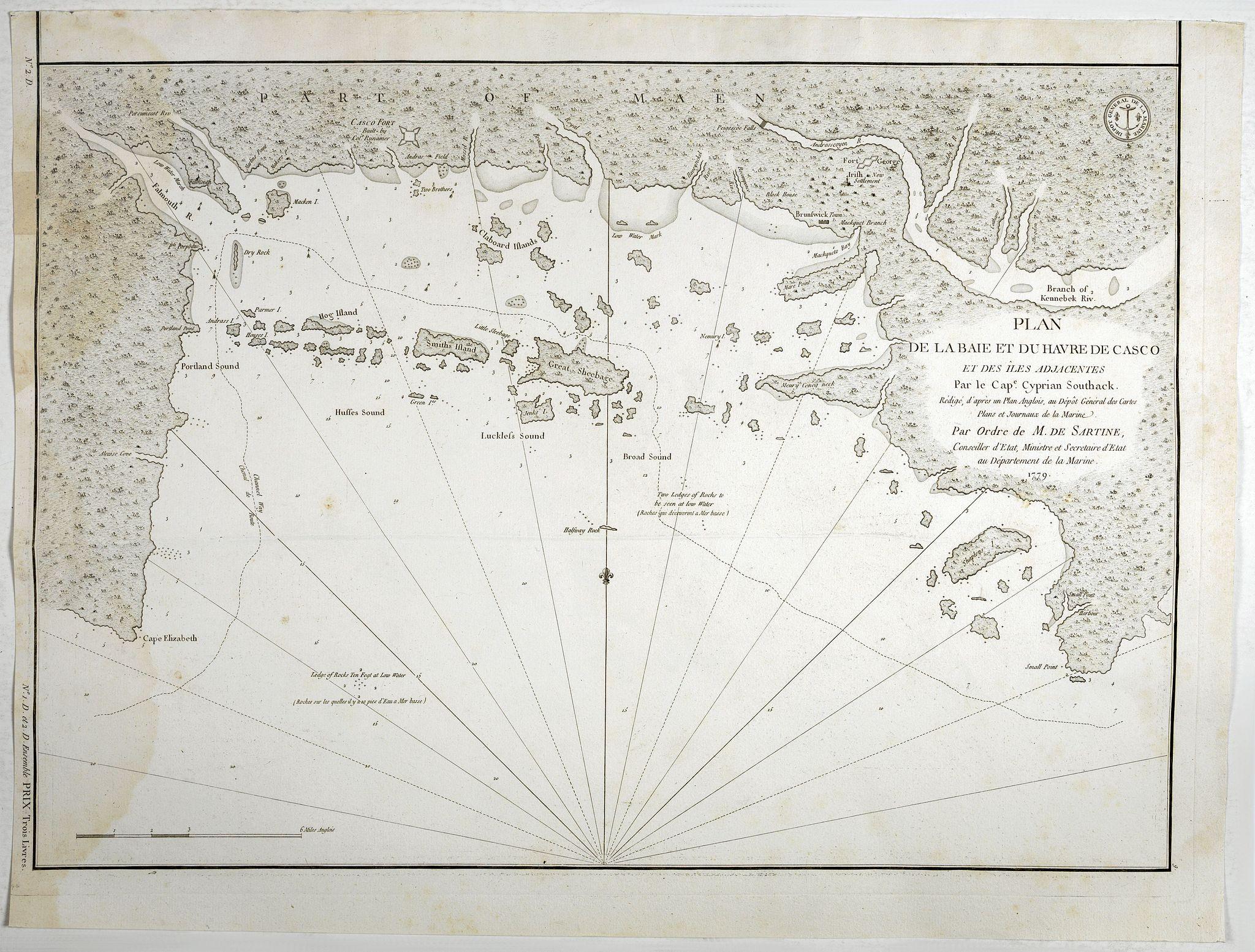 DÉPOT DE LA MARINE: - Plan de la Baie et du Havre de Casco et des Iles Adjacents. . .