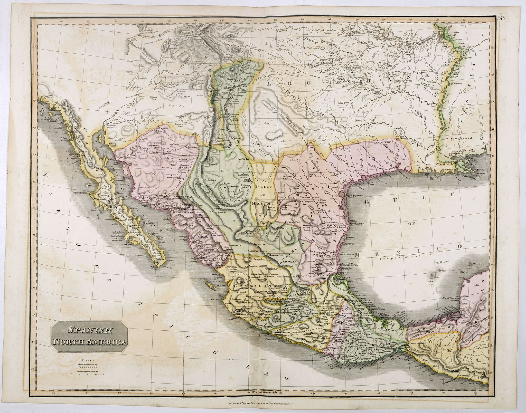 THOMSON, J.,  Spanish North America., antique map, old maps