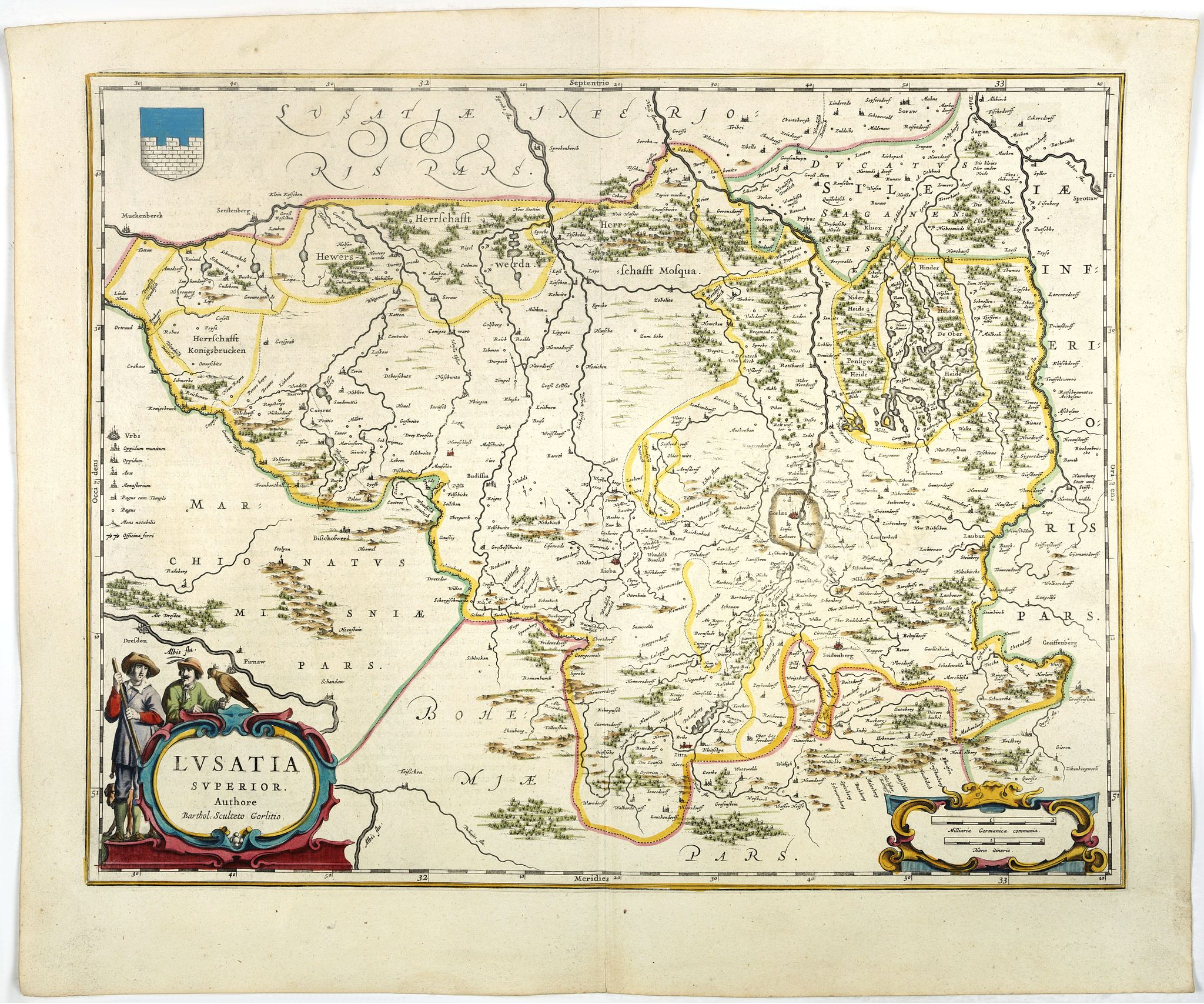 BLAEU, W.,  Lusatia Superior., antique map, old maps