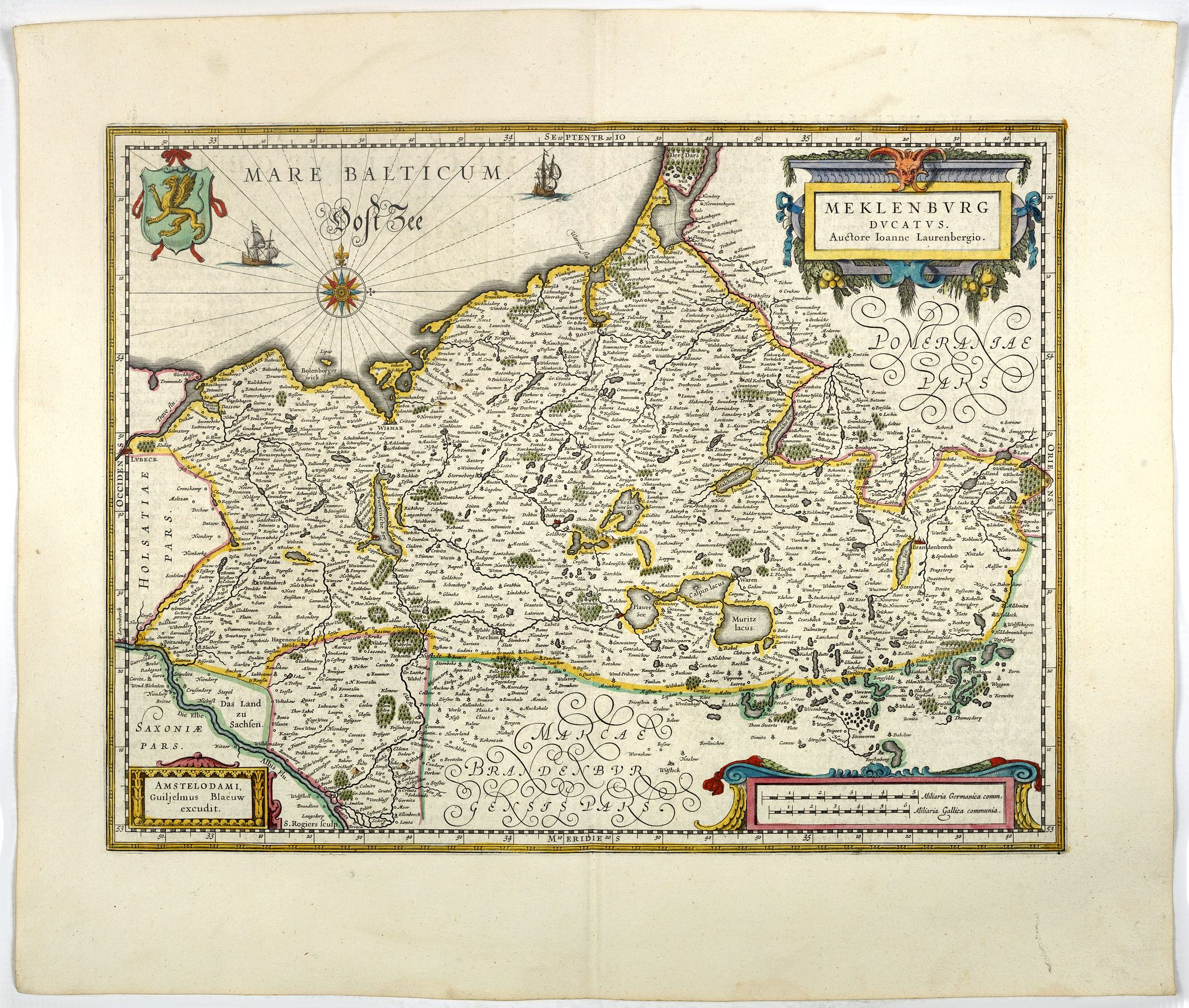 BLAEU, W.,  Meklenburg Ducatus., antique map, old maps