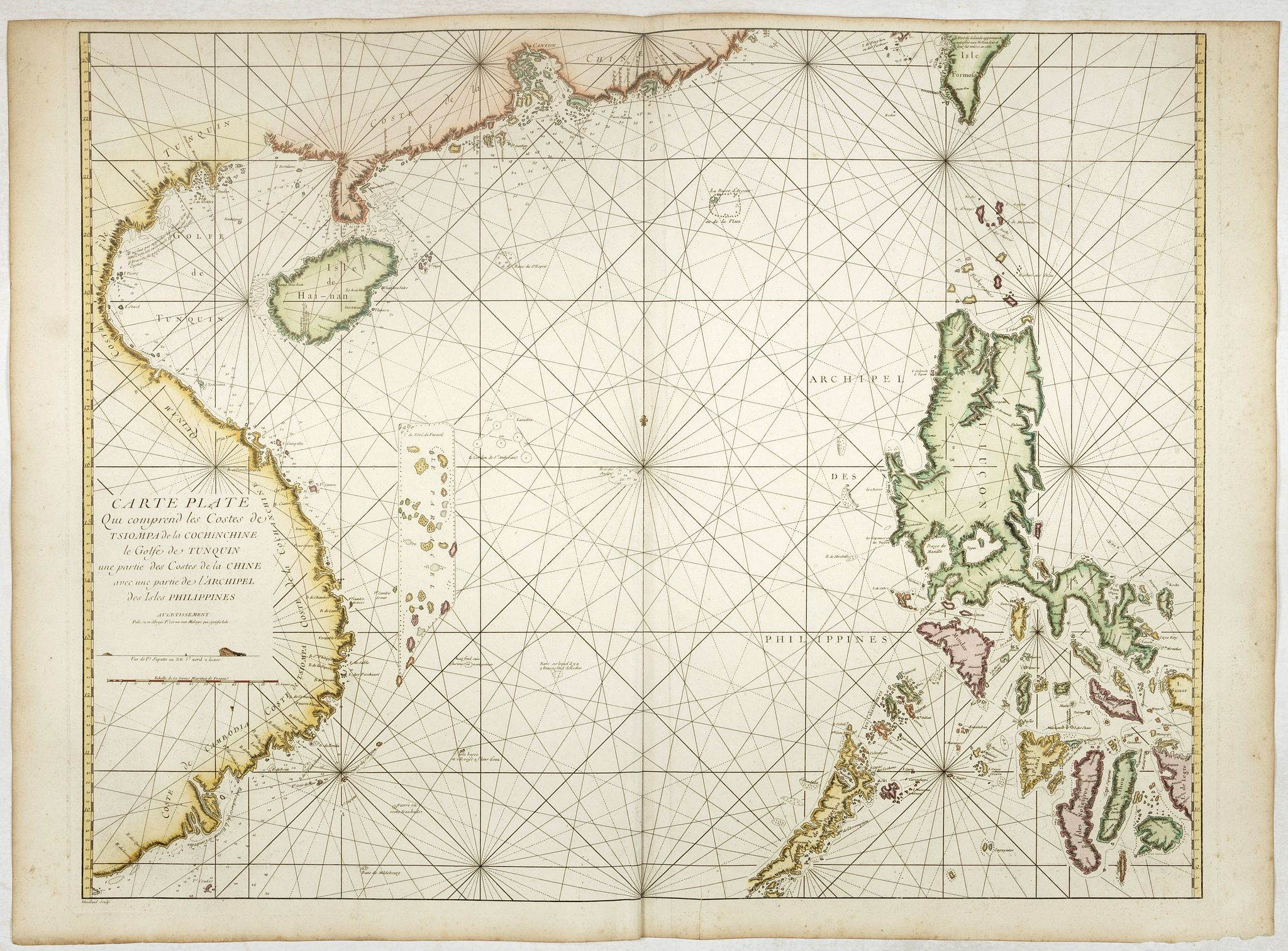D'APRES DE MANNEVILLETTE. -  Carte plate qui comprend les costes de Tsiompa de la Cochinchine -- ... des cotes des Indes orientales et de la China, enrichi de cartes hydrographiques ..