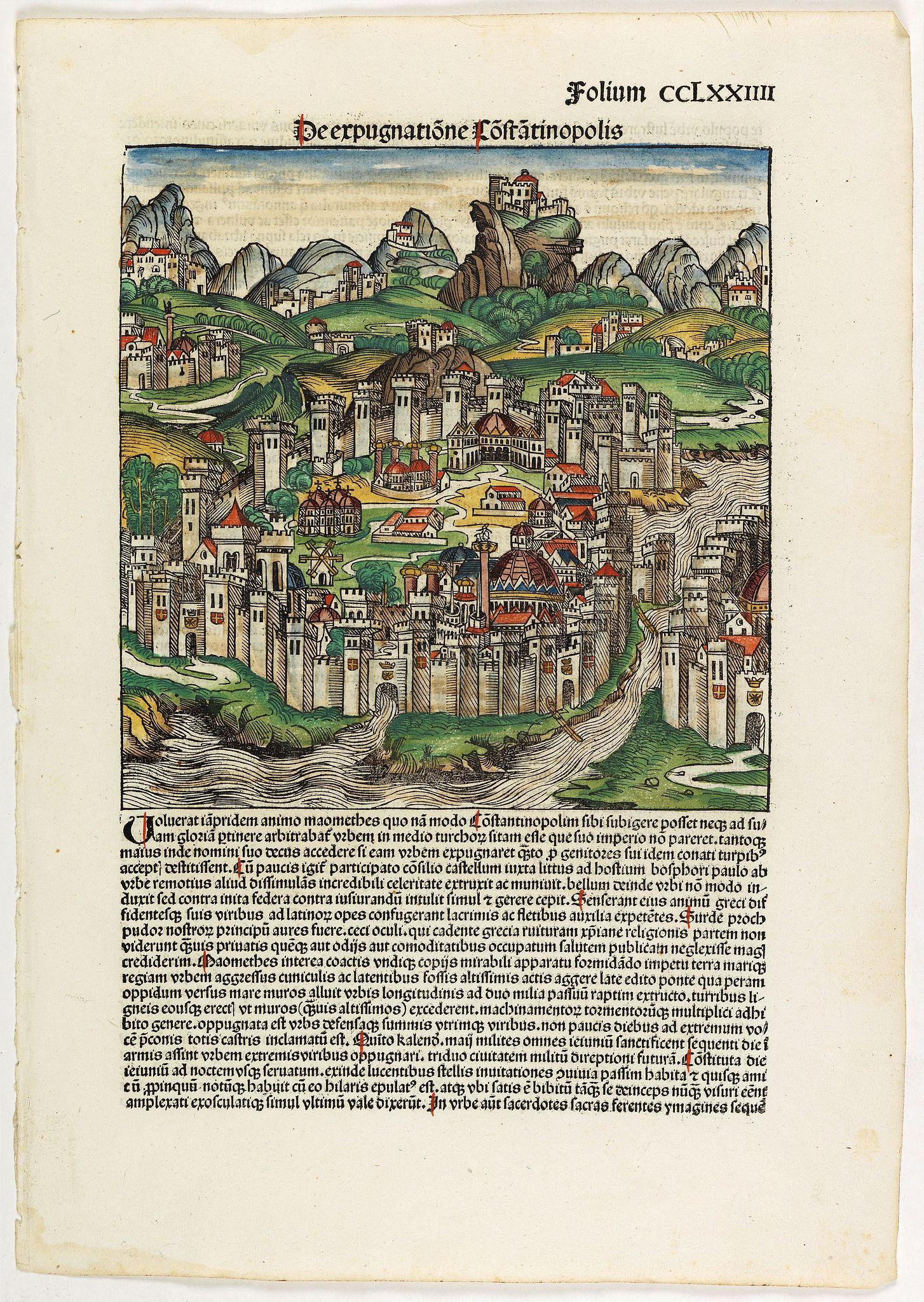 SCHEDEL, H. -  [De expugnatione Constantinopolis. . . Folium CCLXXIIII ].