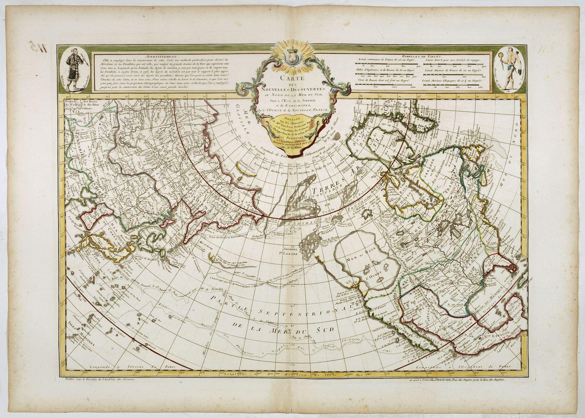 DE L'ISLE., J. -  Carte des nouvelles decouvertes au Nord de la Mer du Sud.