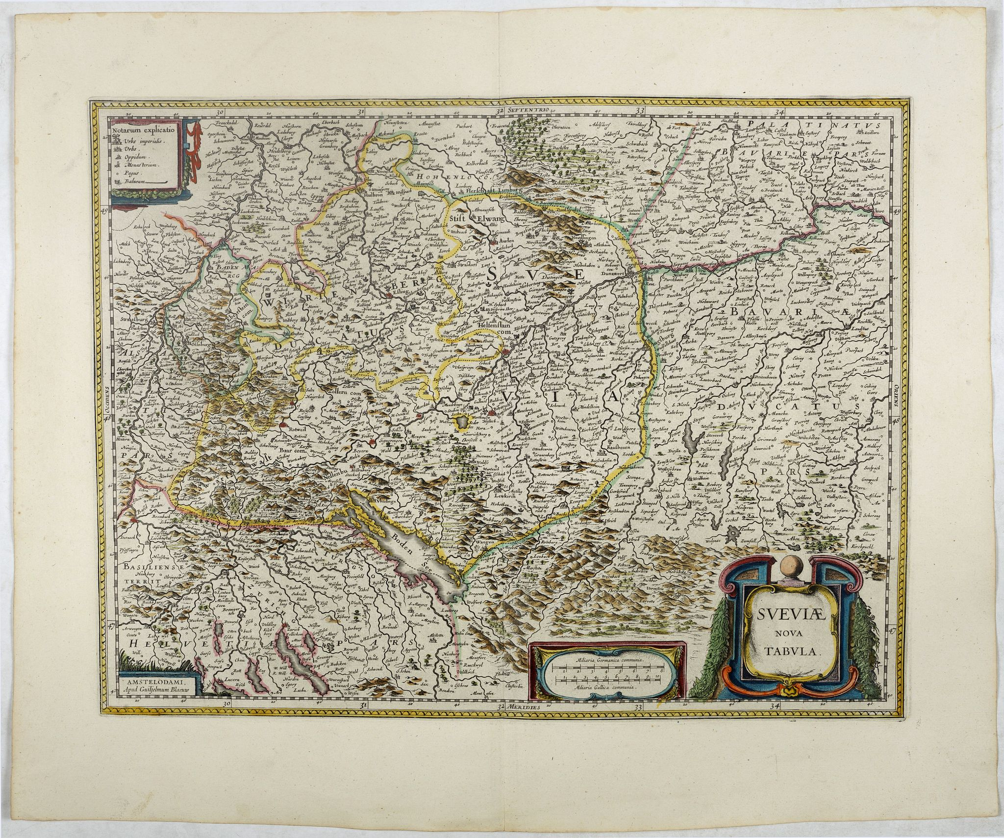 BLAEU, W.,  Sueviae nova tabula., antique map, old maps