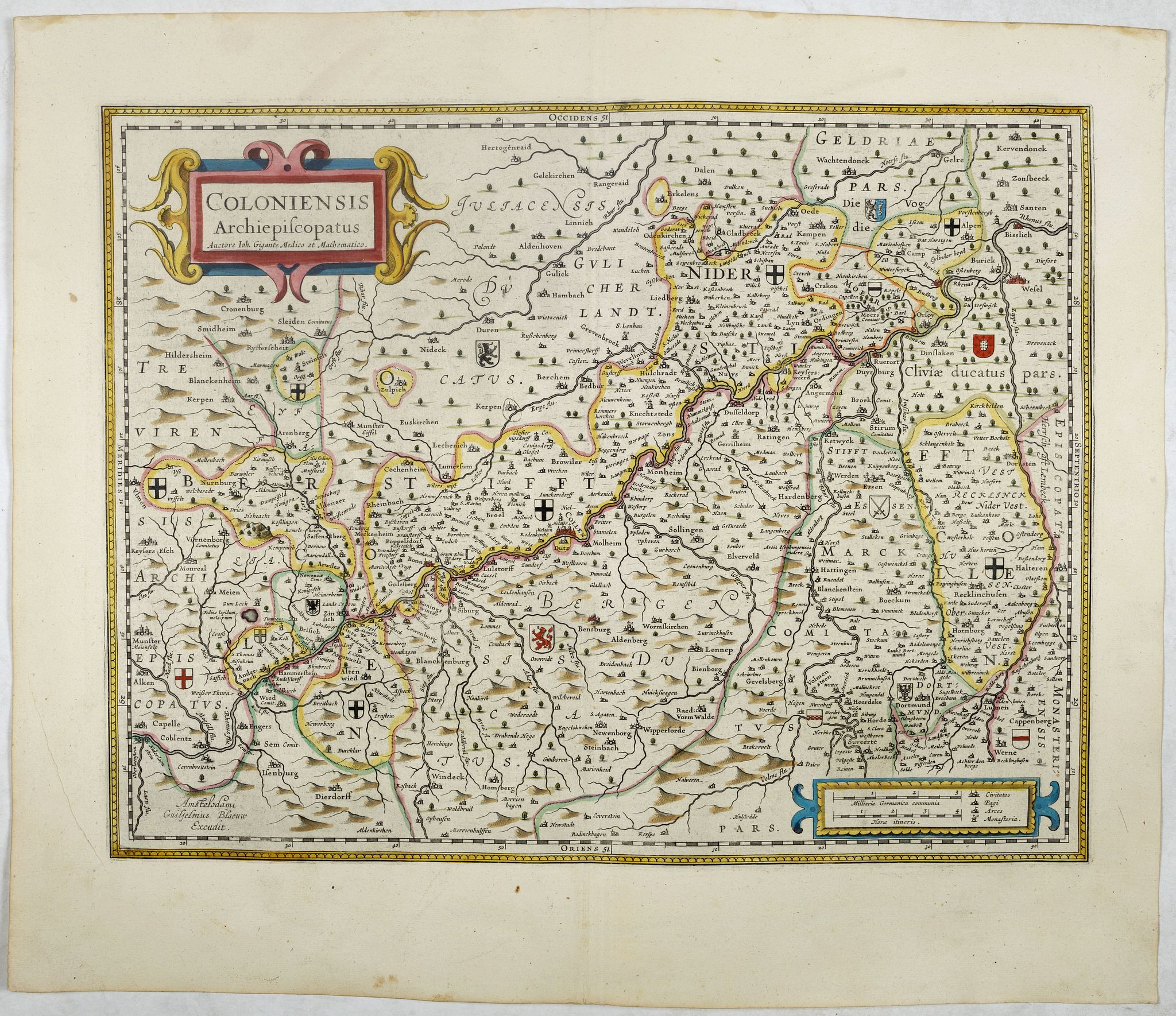 BLAEU, W.,  Coloniensis Archiepiscopatus, antique map, old maps
