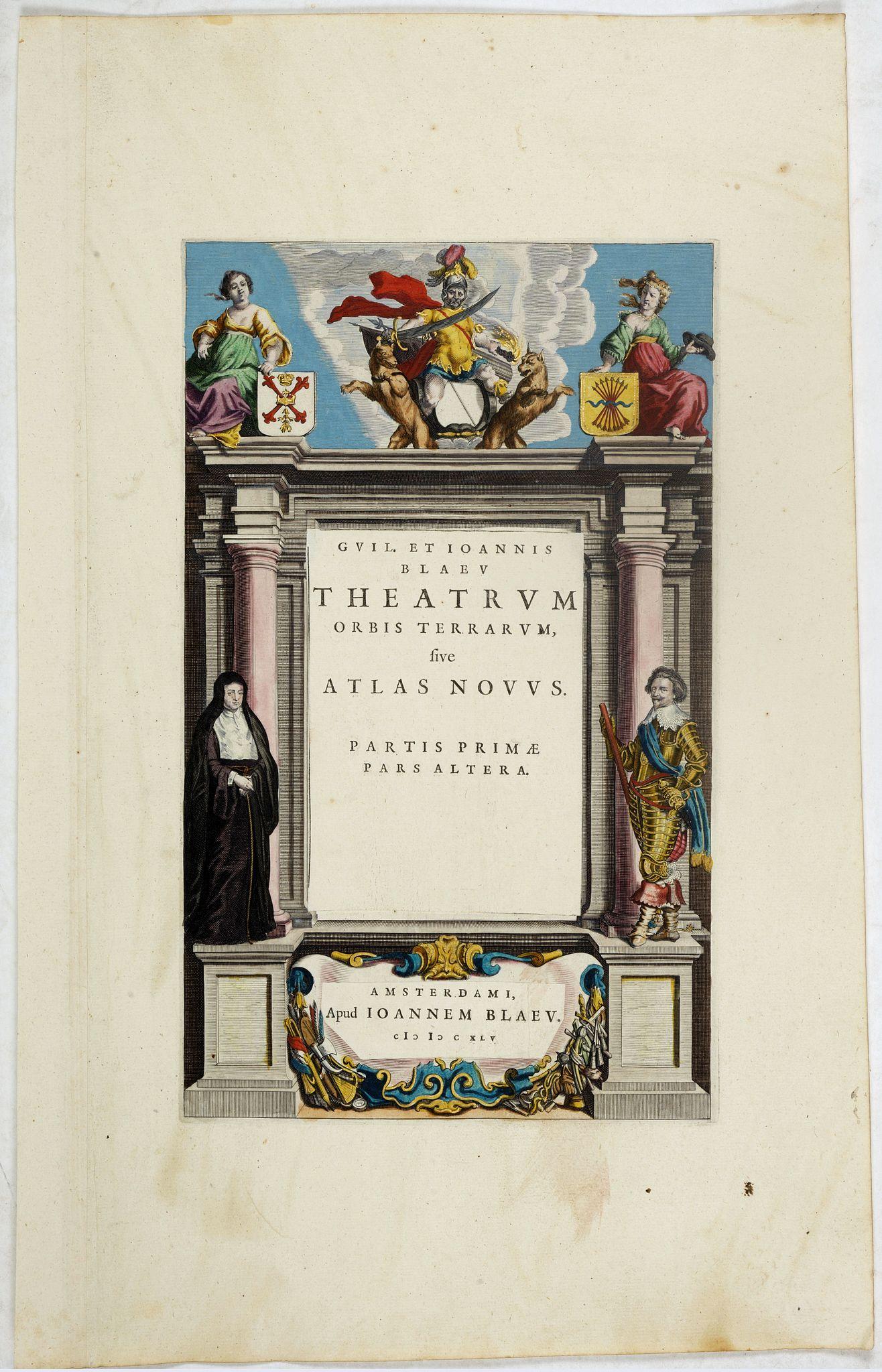 BLAEU, J. -  Title page from Theatrum Orbis Terrarum sive Atlas Novus Partis Prime Pars Altera.