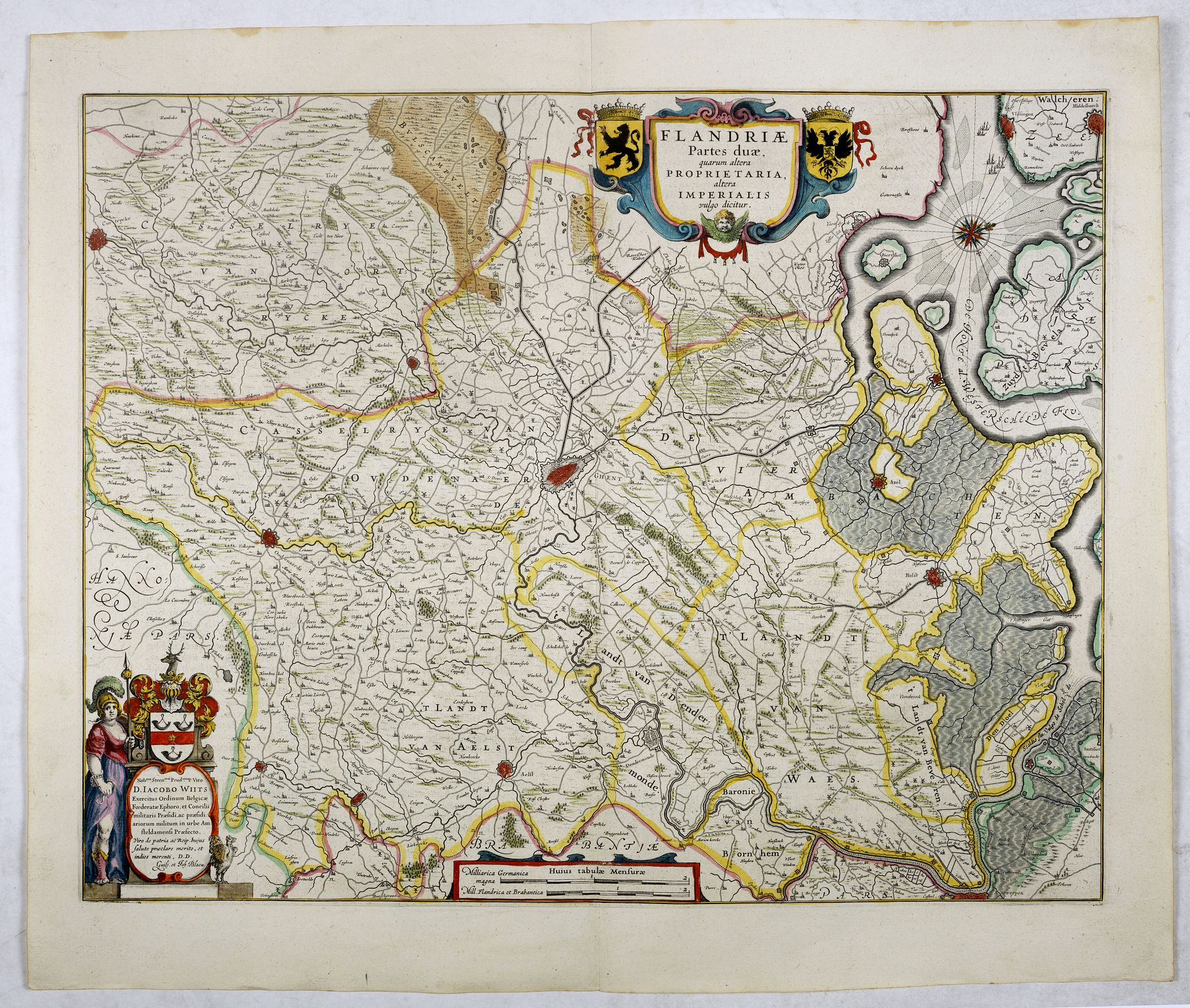 BLAEU, W.,  Flandriae Partes duae quarum altera proprietaria . . ., antique map, old maps