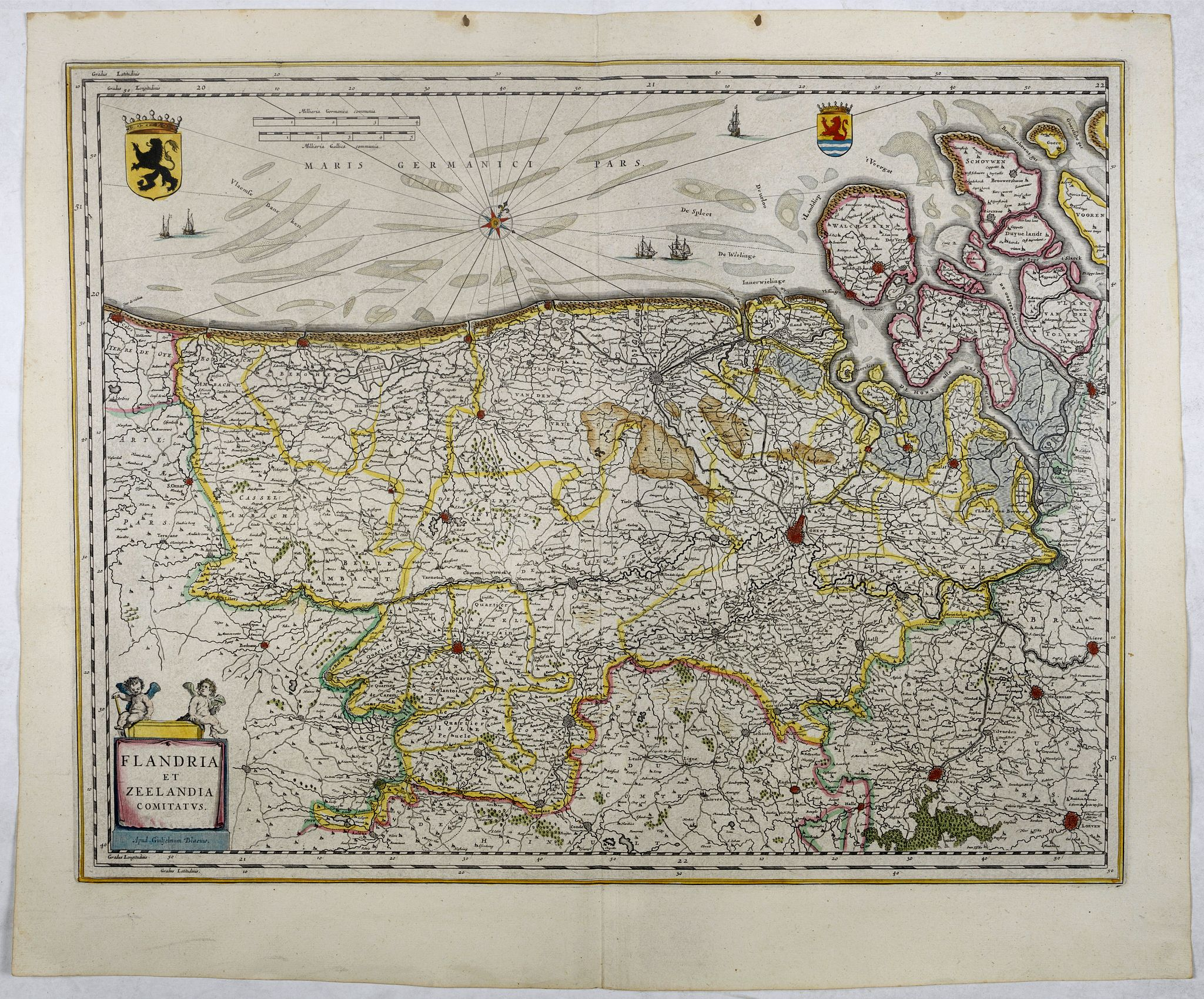 BLAEU, W.,  Flandria et Zeelandia Comitatus., antique map, old maps