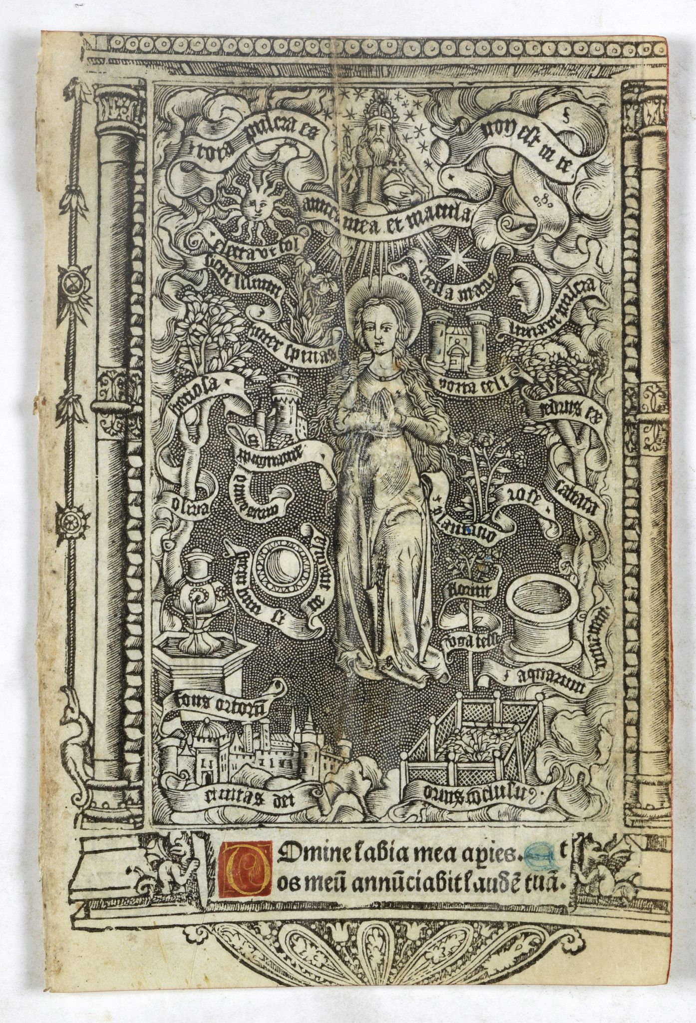 BOOK OF HOURS -  Leaf on vellum from a printed Book of Hours with miniature of  the Virgin of the Litanies.