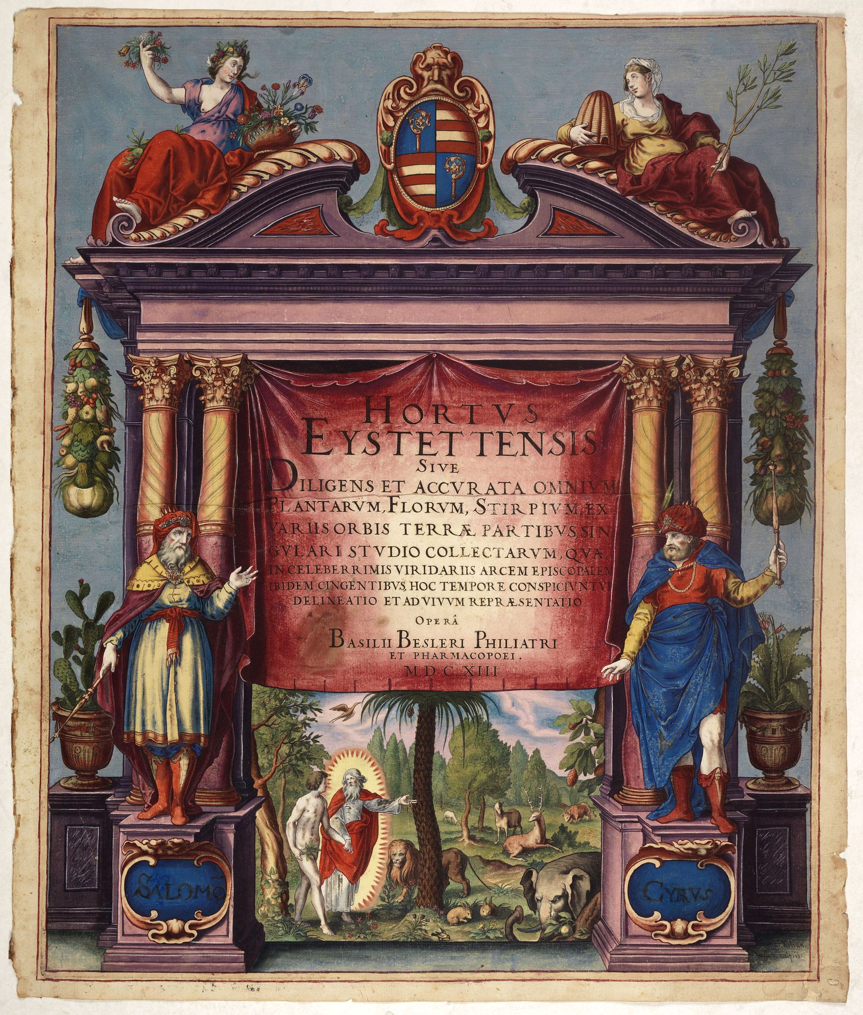 BESLER, Basilius (1561-1629) -  [Title page coloured by Georg Mack Jr. to : Hortus Eystettensis, Sive Diligens et Accurata Omnium Plantarum, Florum, Stirpium,. . .]