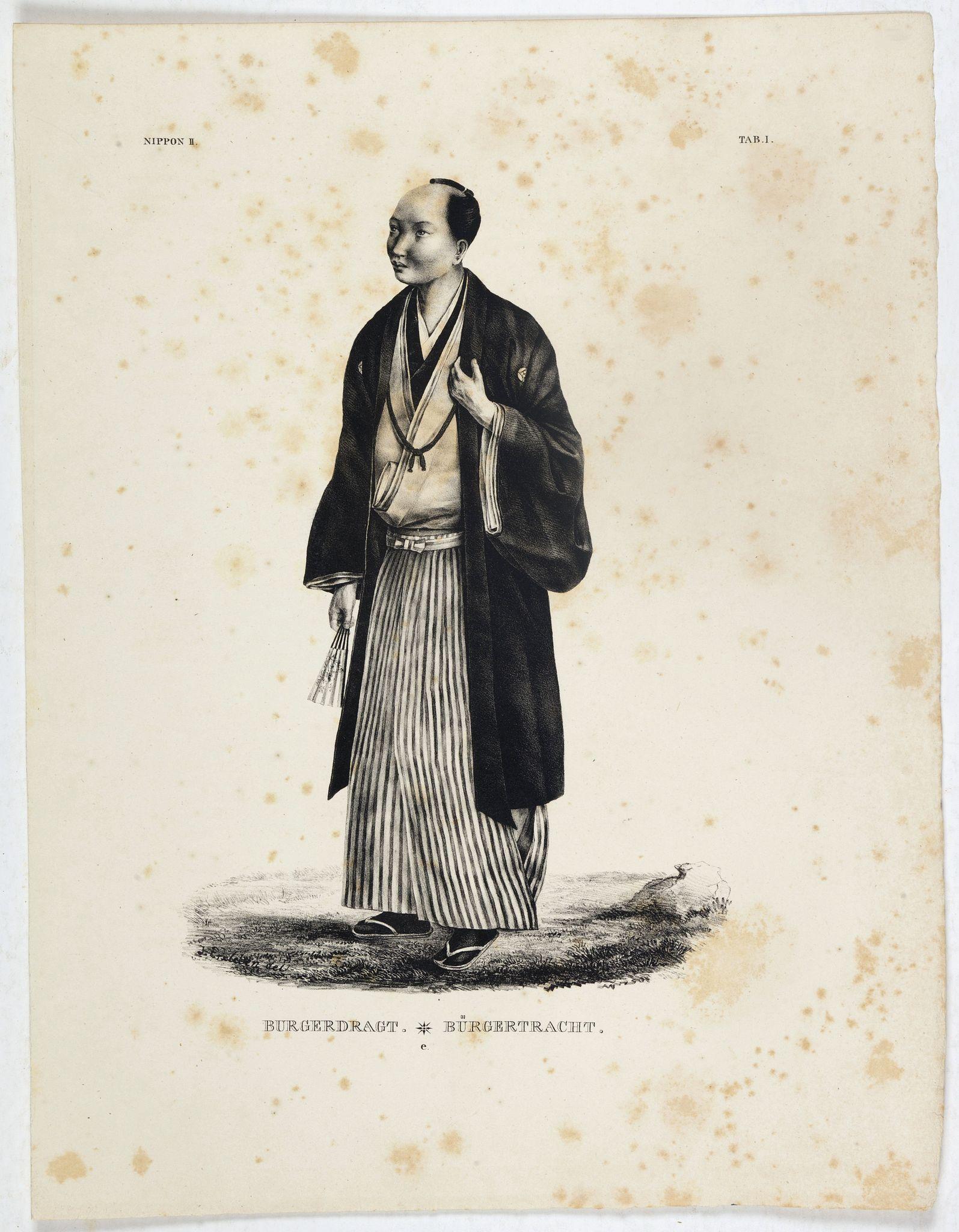 VON SIEBOLD, P.Fr.B. -  Burgerdragt. [Japanese citzen in typical dress]