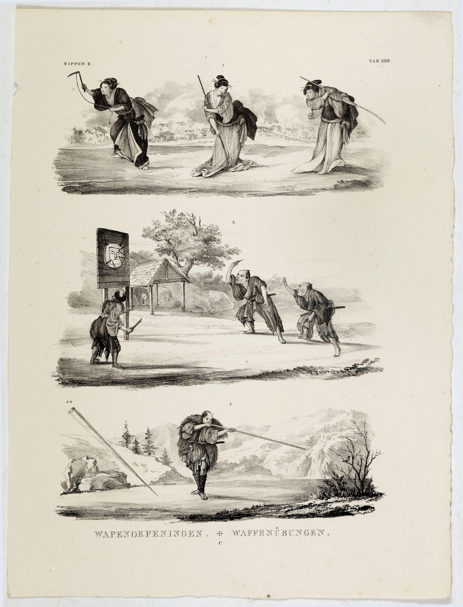 VON SIEBOLD, P.Fr.B. -  Wapenoefeningen - Tab XXIV. (Japanese martial art techniques)